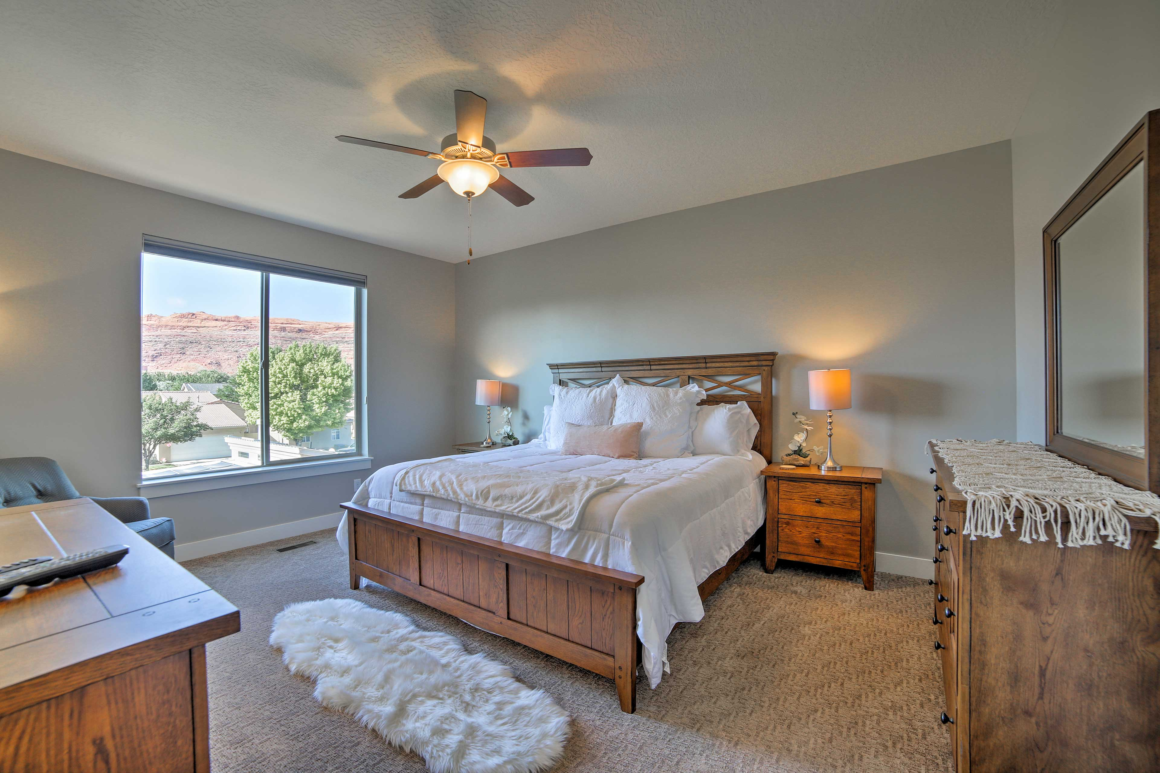 This master bedroom is a private oasis.