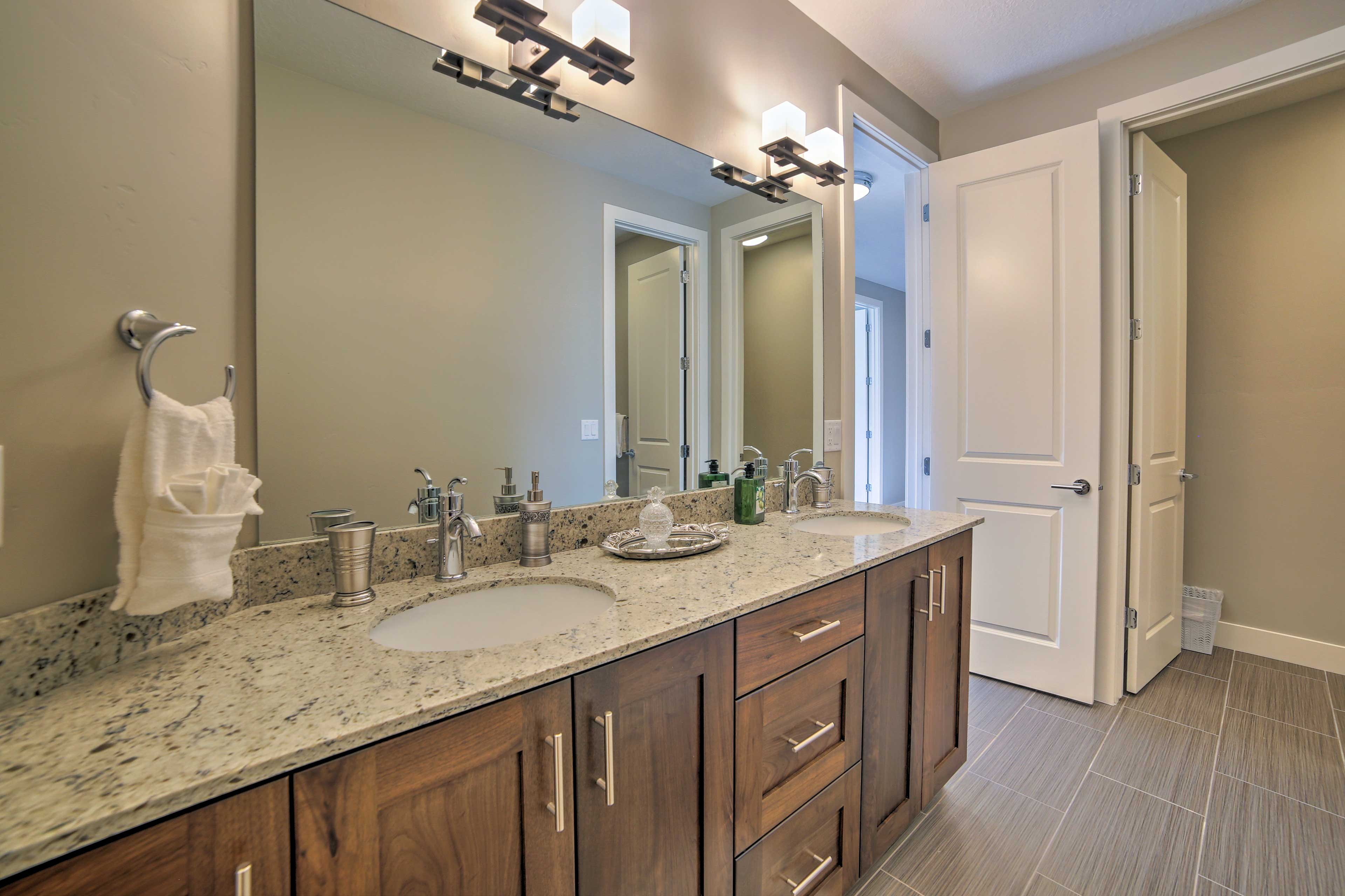 The Jack-and-Jill bath is shared with the second master bedroom.