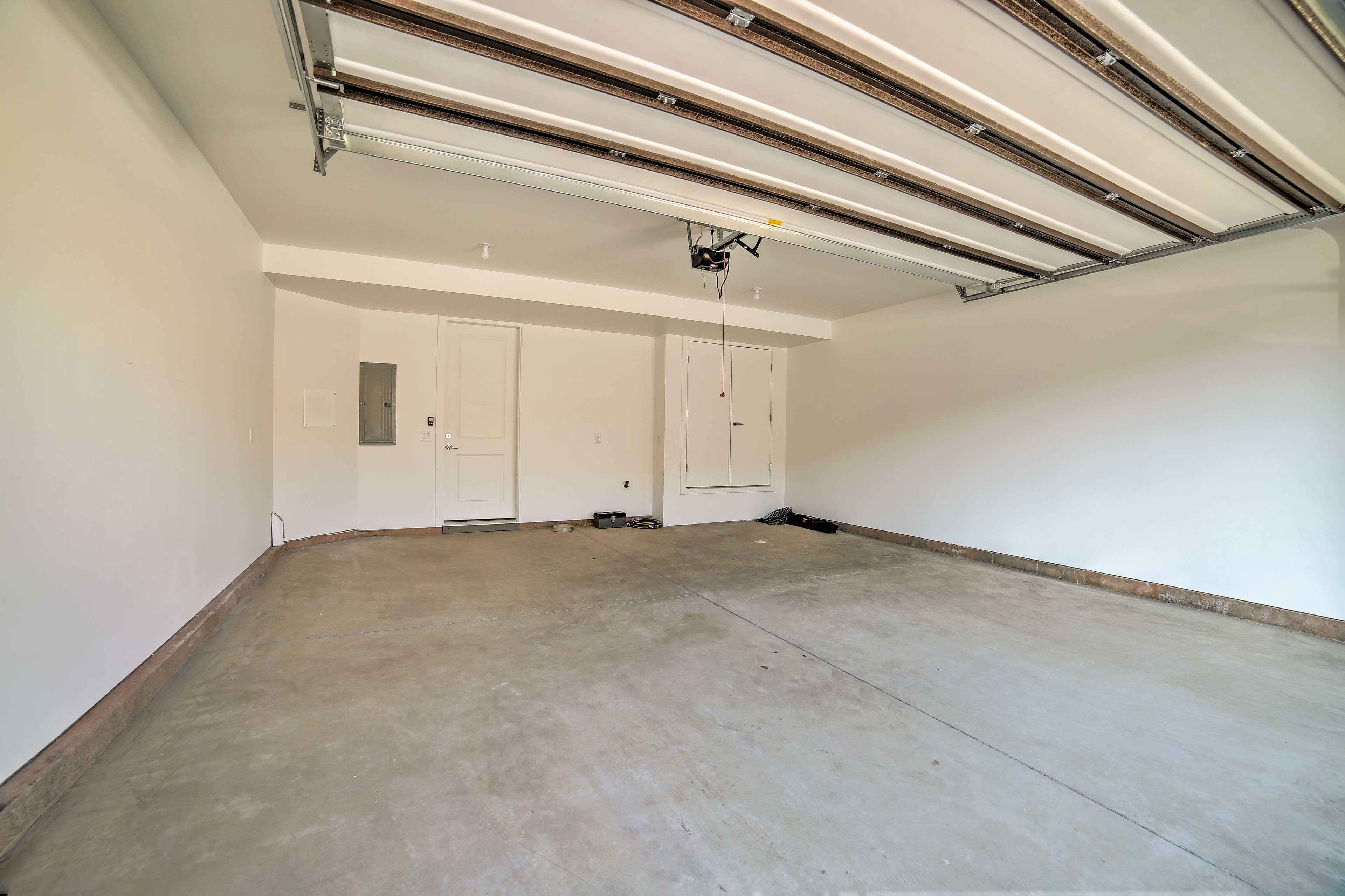 There is garage and driveway parking available.