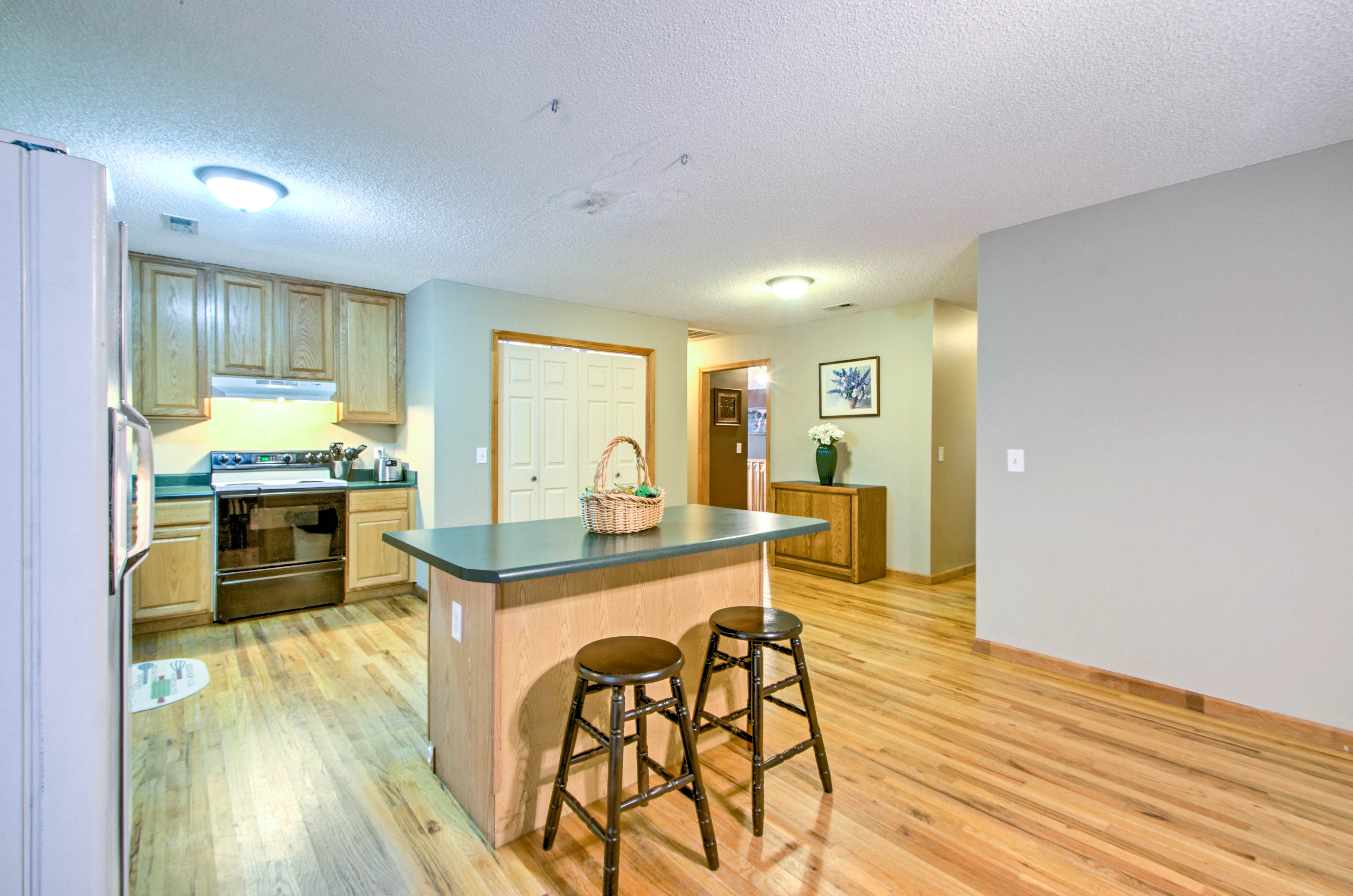 Hardwood floors are featured throughout the 1,800-square-foot interior.