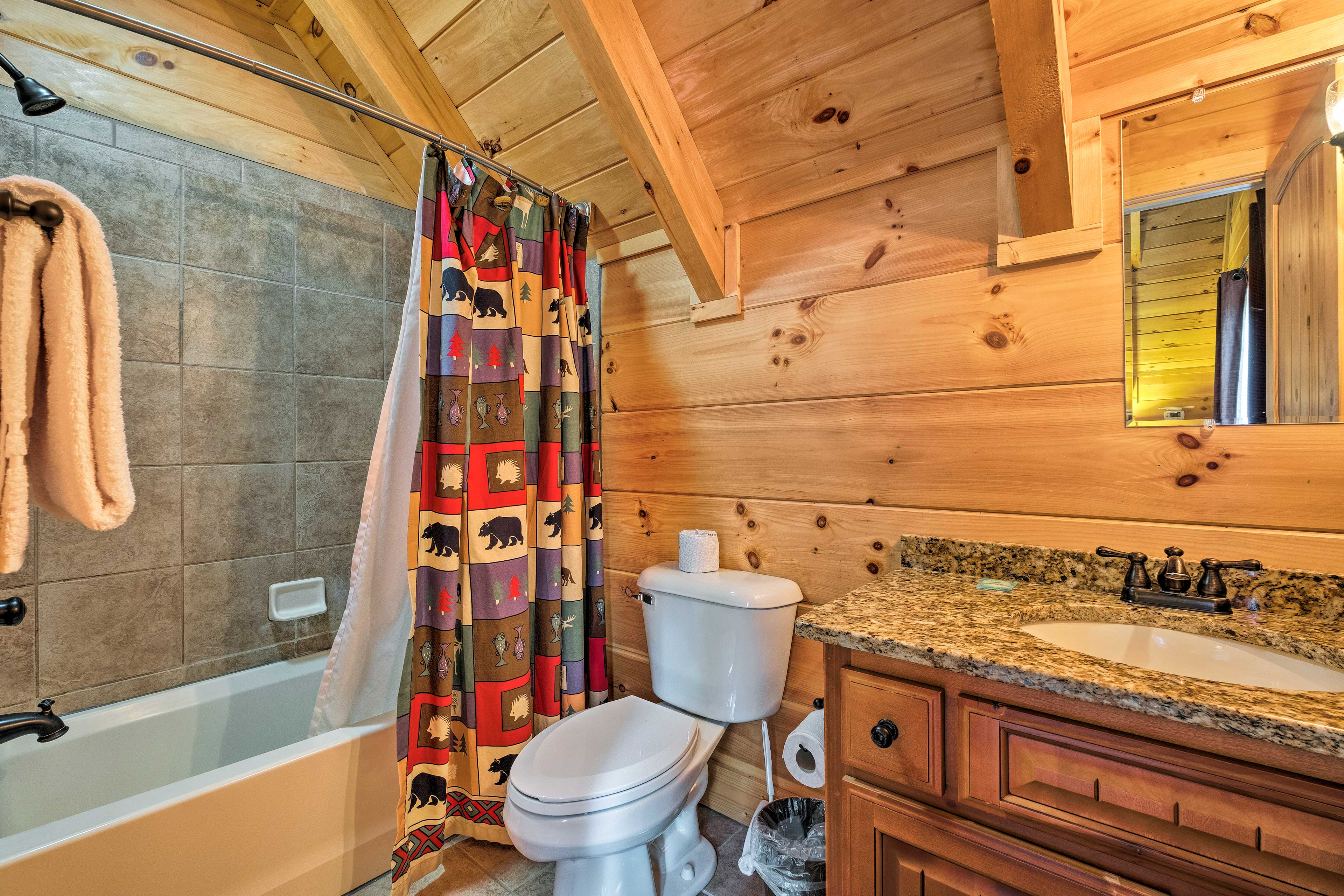 A shower/tub combo makes it easy to bathe your kids.