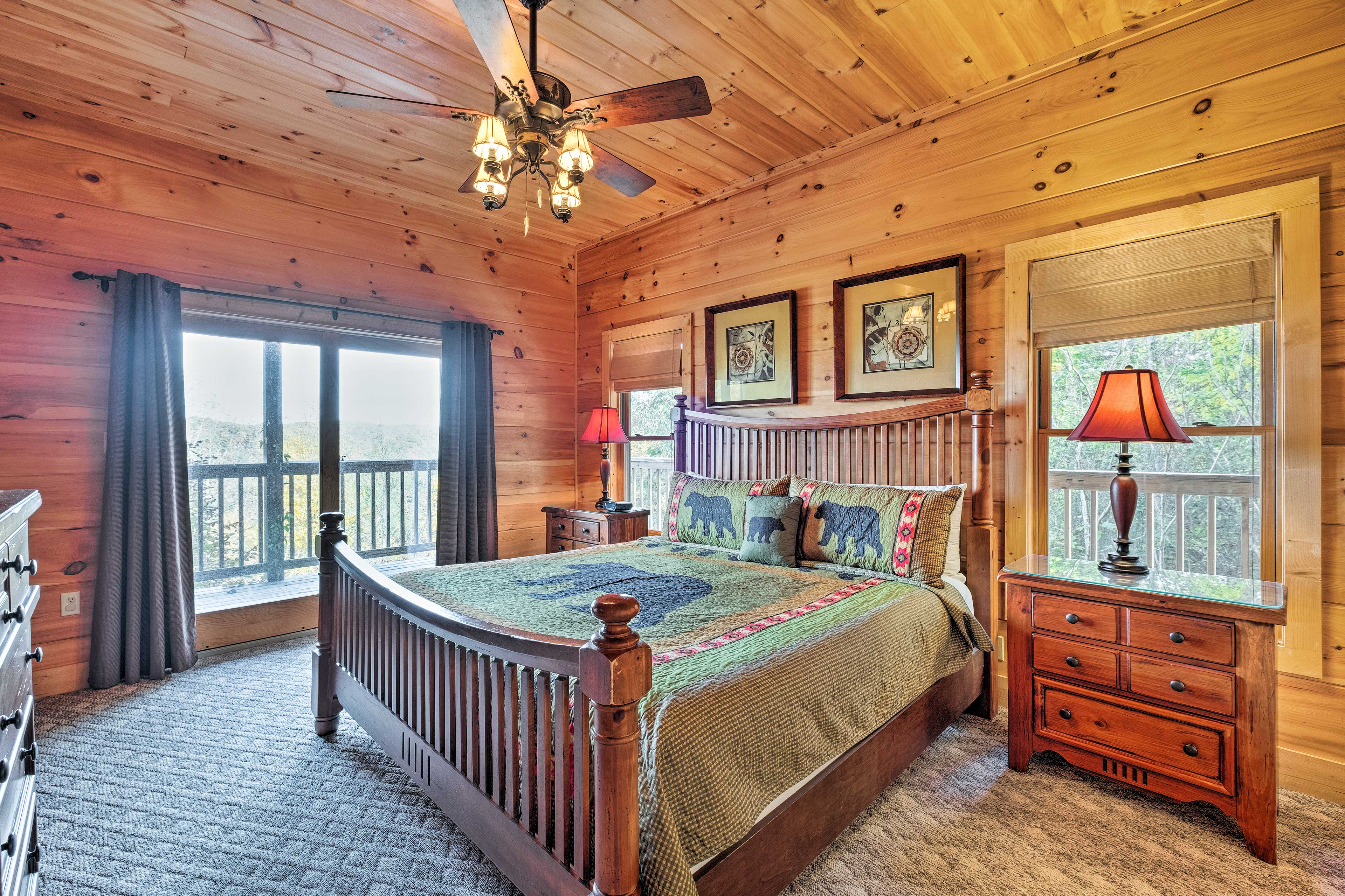 The second master suite hosts a comfortable king bed.