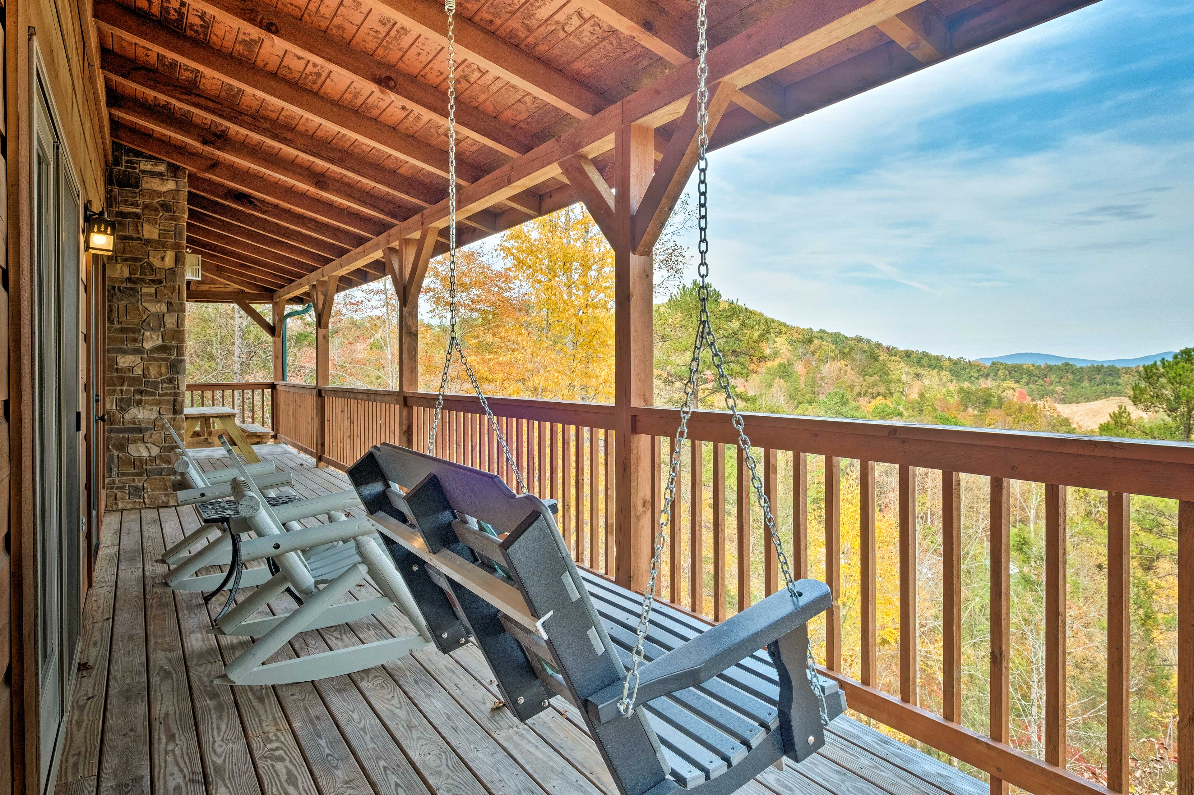 Relax in the swing or rocking chairs while you stargaze.
