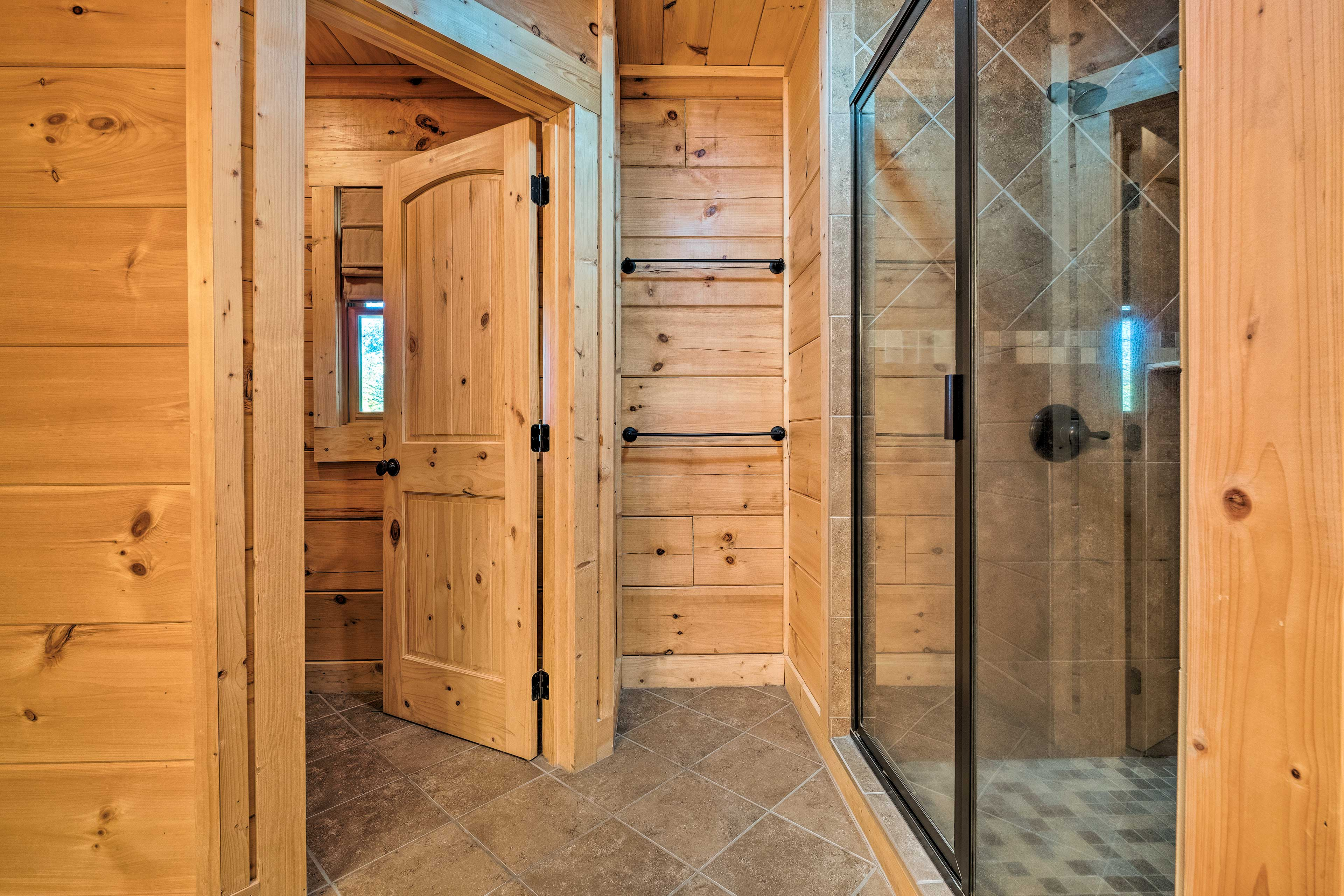 A walk-in shower is available as well.