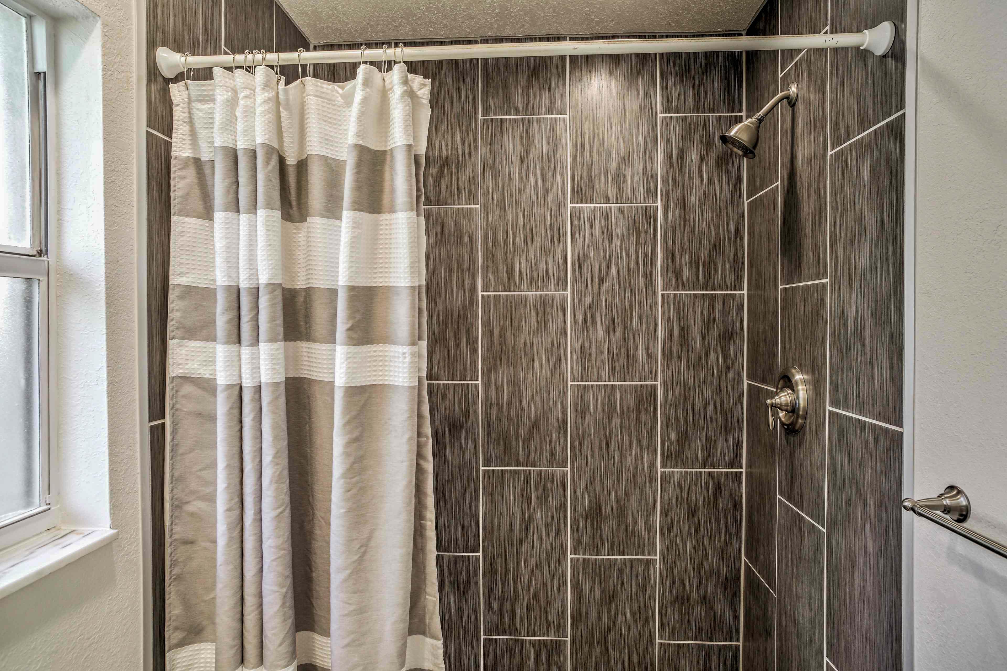 Wash up in the lavish walk-in shower.