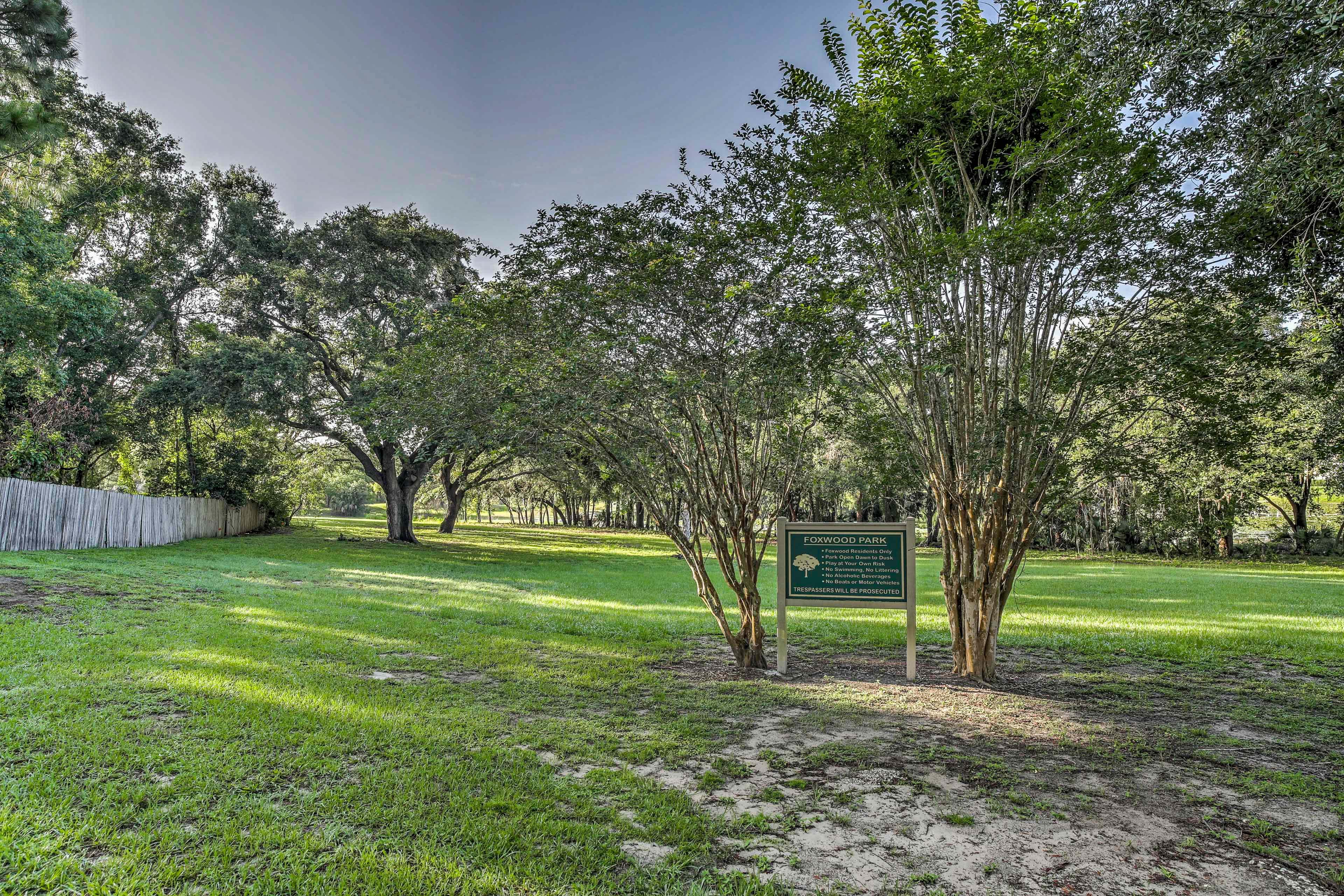 Foxwood Park is right around the corner.