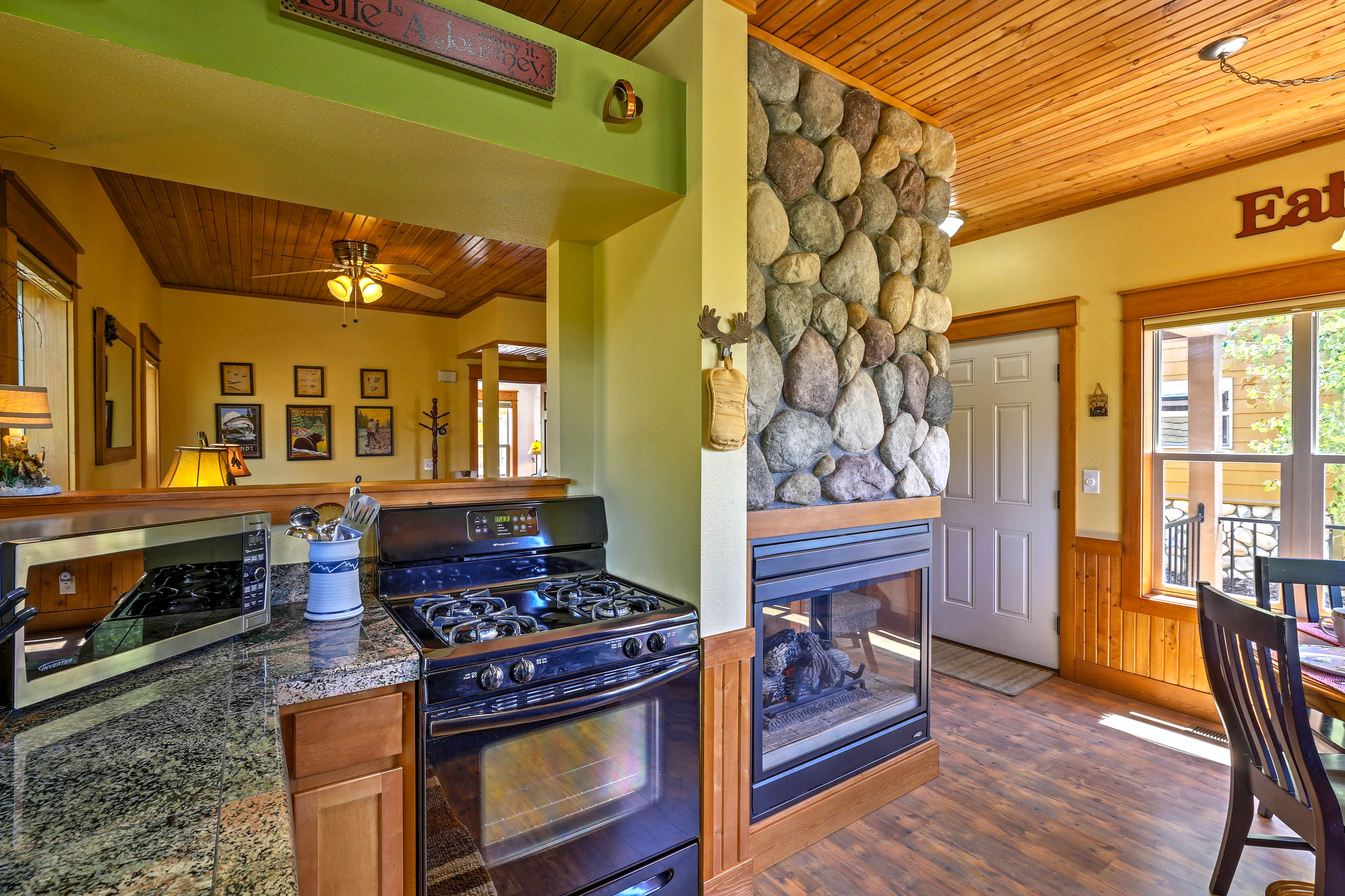 The cabin blends mountain charm with modern conveniences.