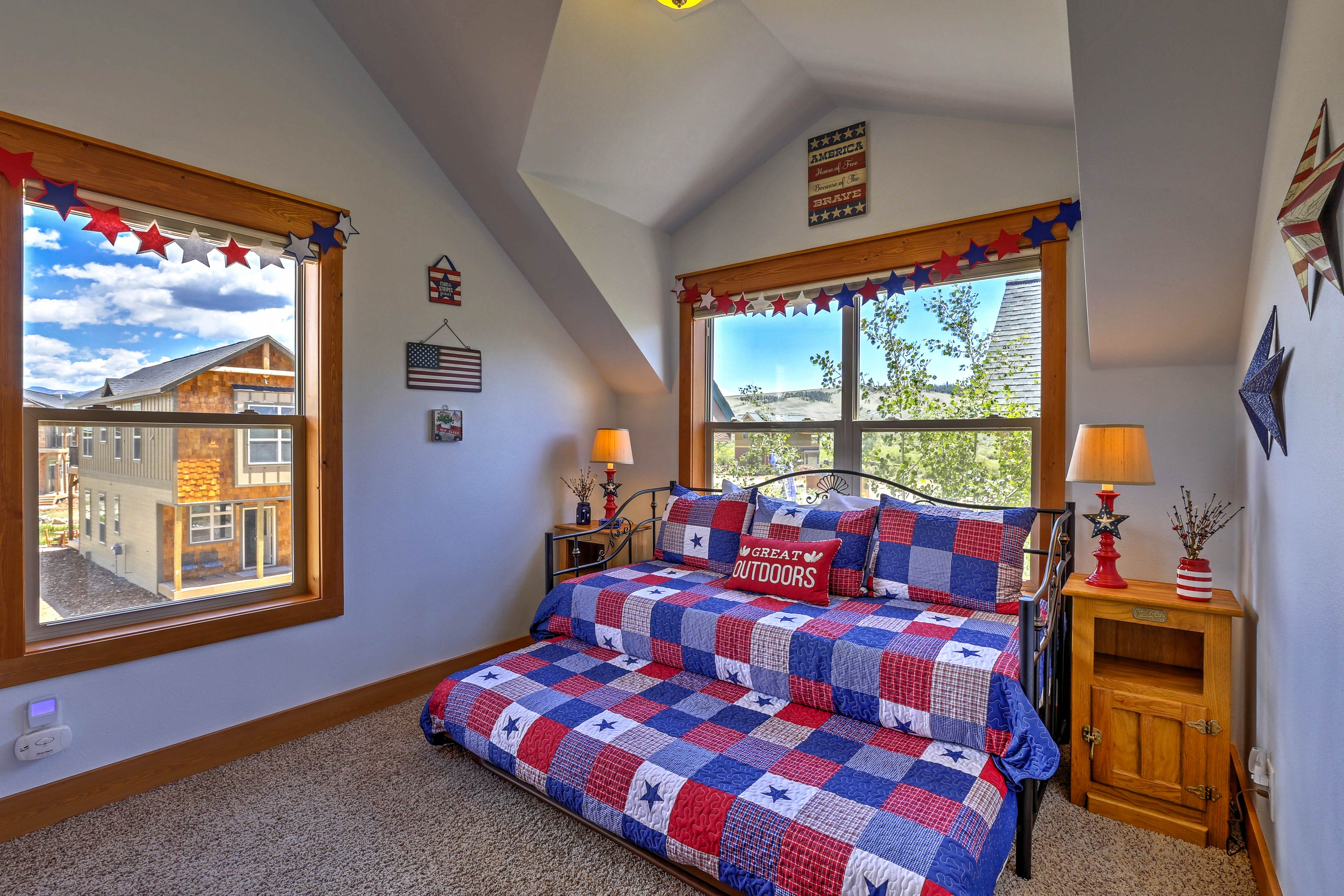 The third bedroom is furnished with a twin bed and a twin trundle bed.