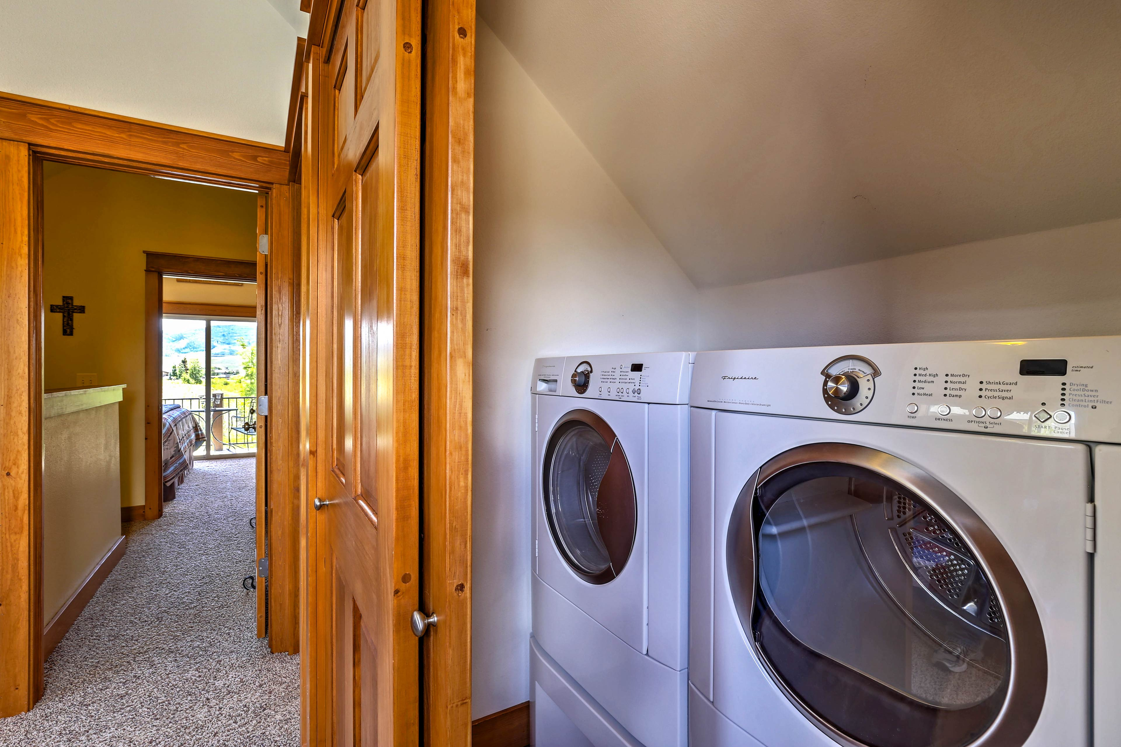 Use the in-unit washer and dryer to keep all of your adventure wear fresh.