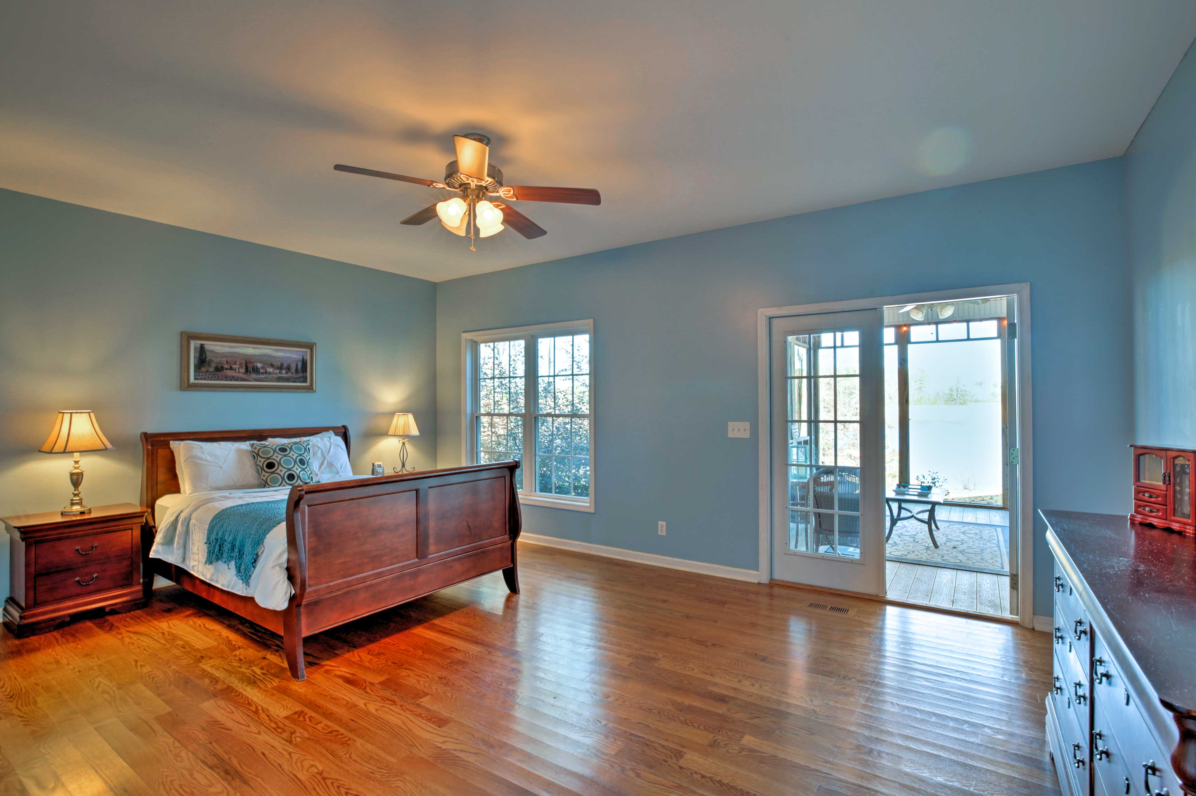 Master bedrooms can be found upstairs and downstairs.