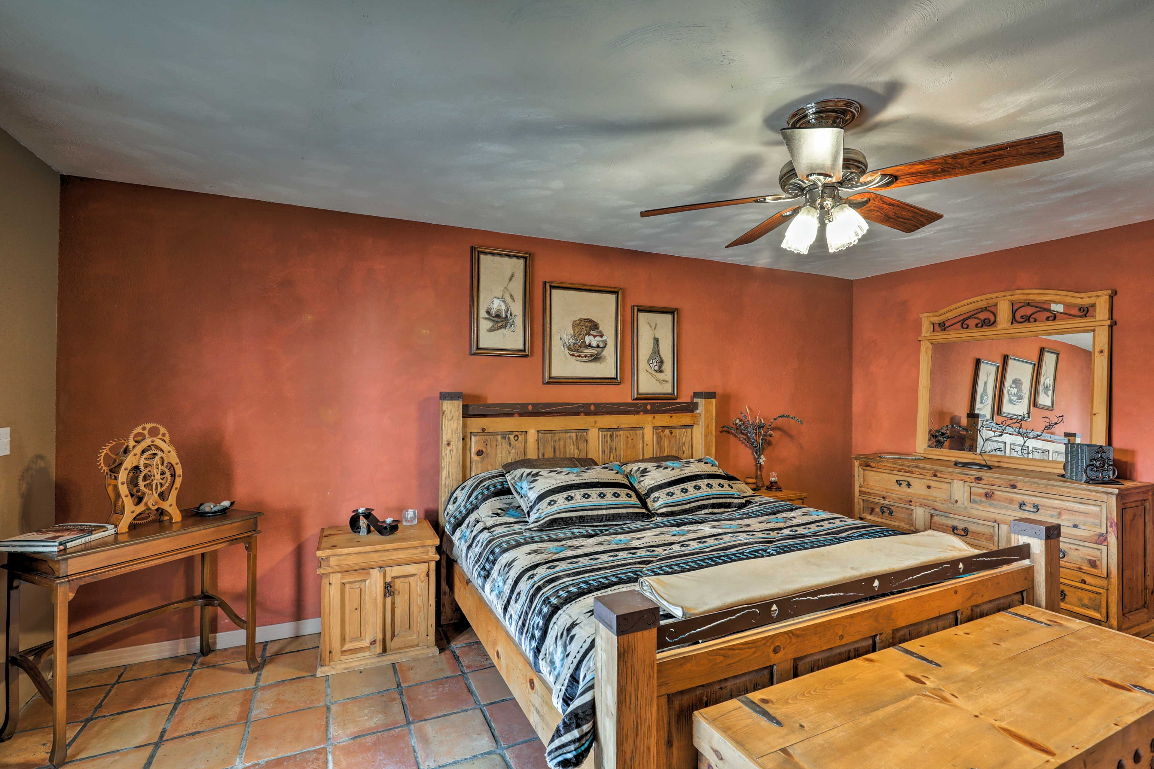 Each room is appointed with wood furnishings.