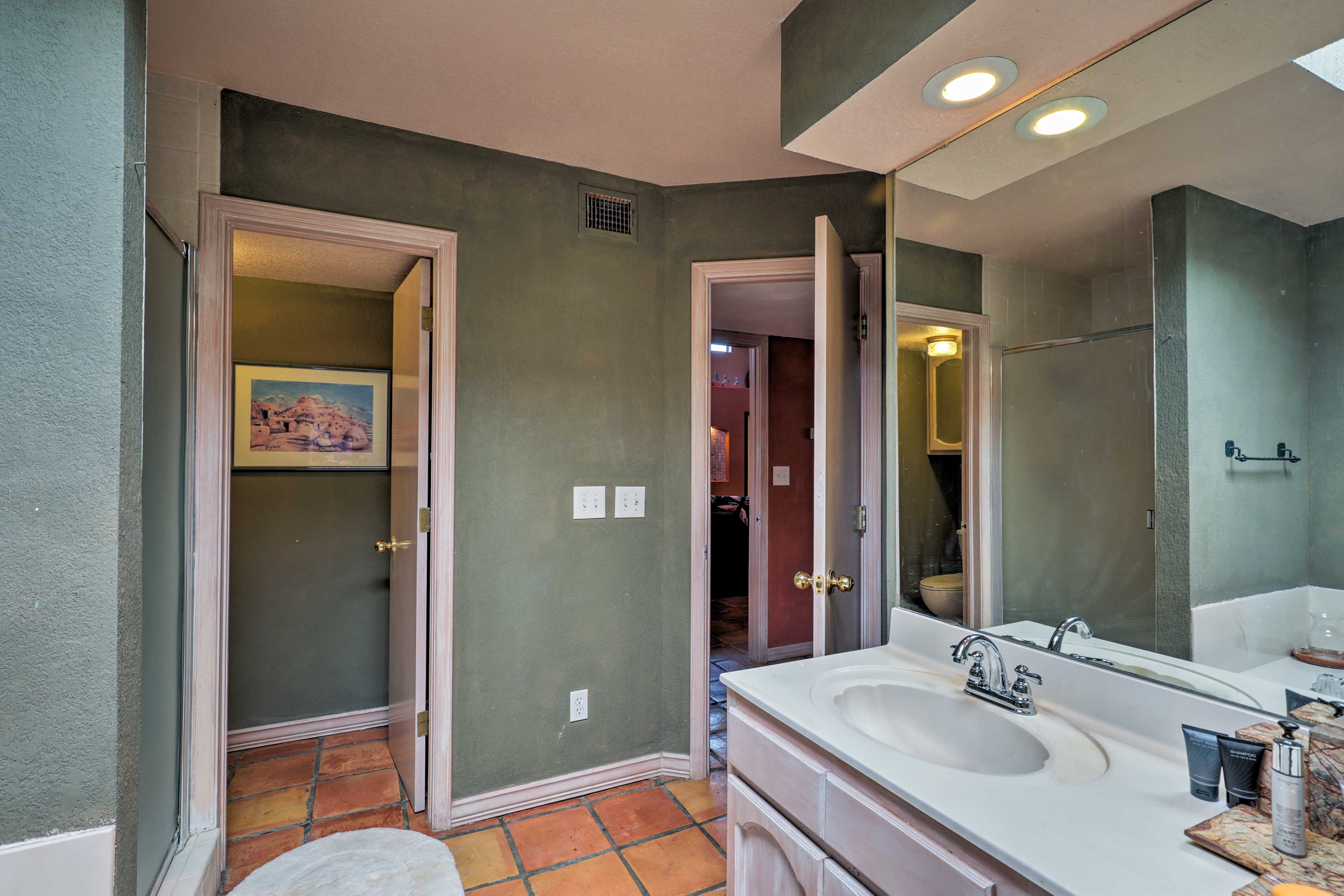 The bathroom also has a jetted tub and walk-in shower!