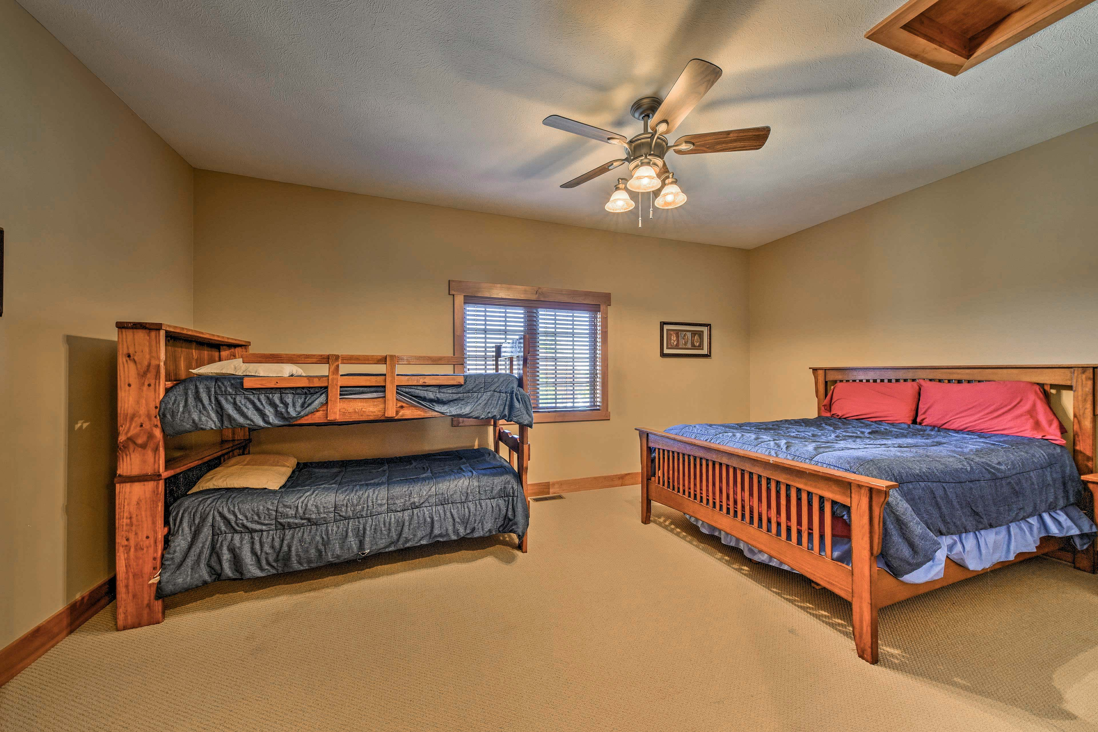 Sleep 4 in this bedroom, complete with a twin-over-twin bunk bed.