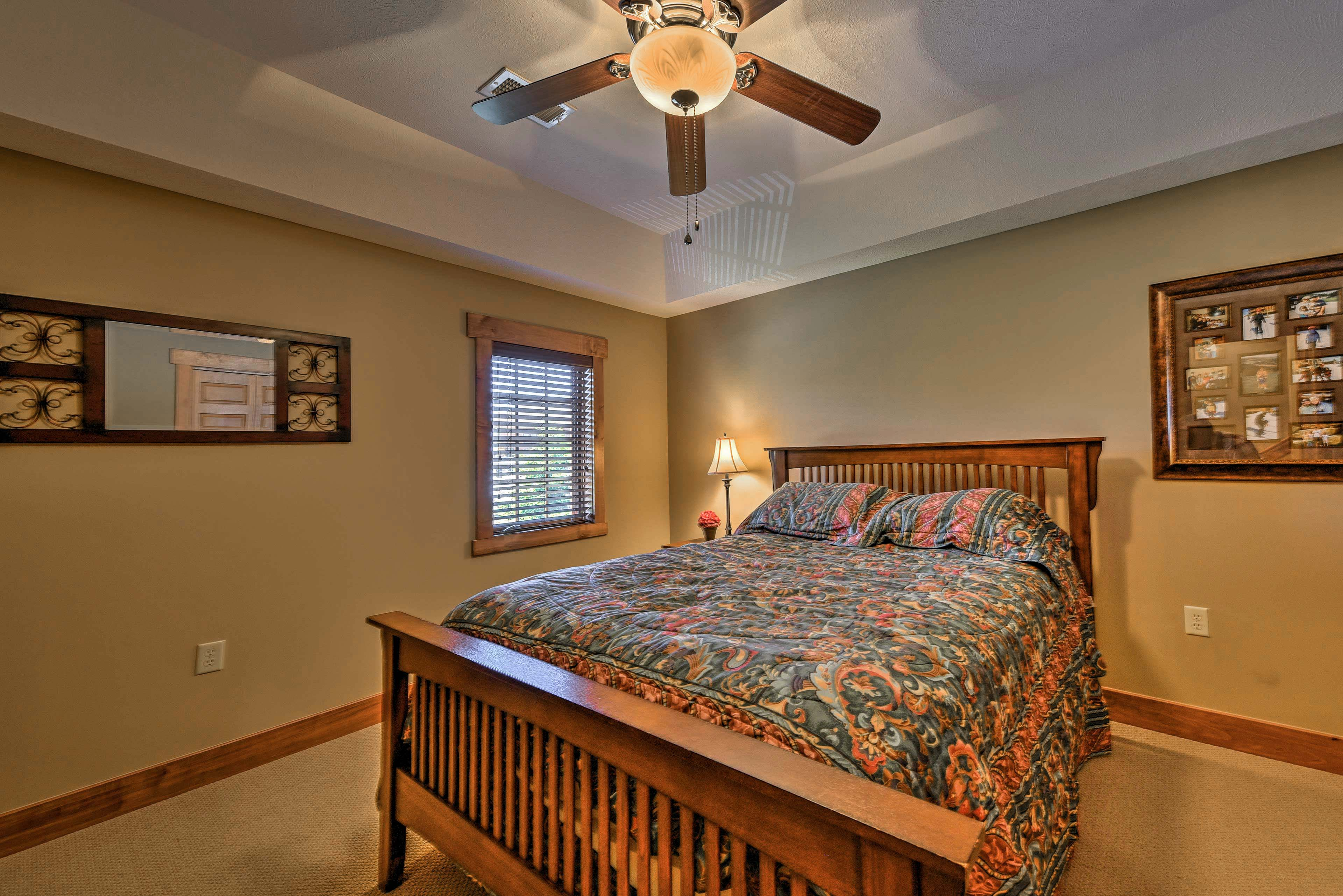 A restful slumber awaits you in this queen-sized bed.