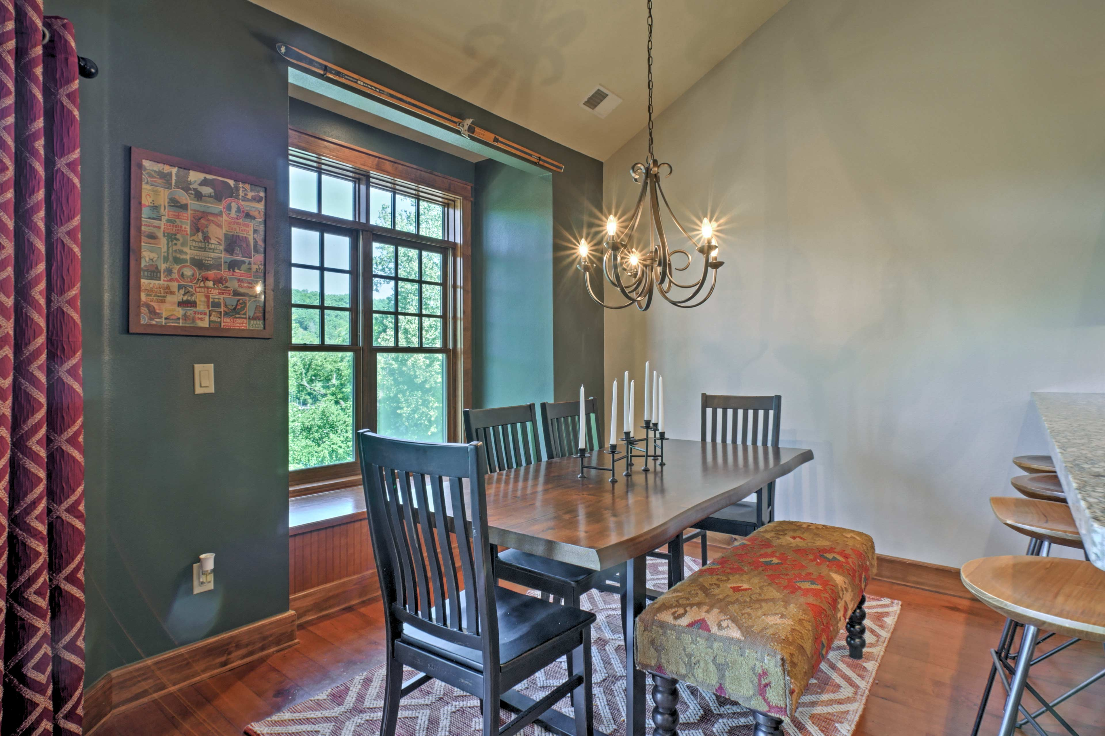 Enjoy dining in at the large dining table.