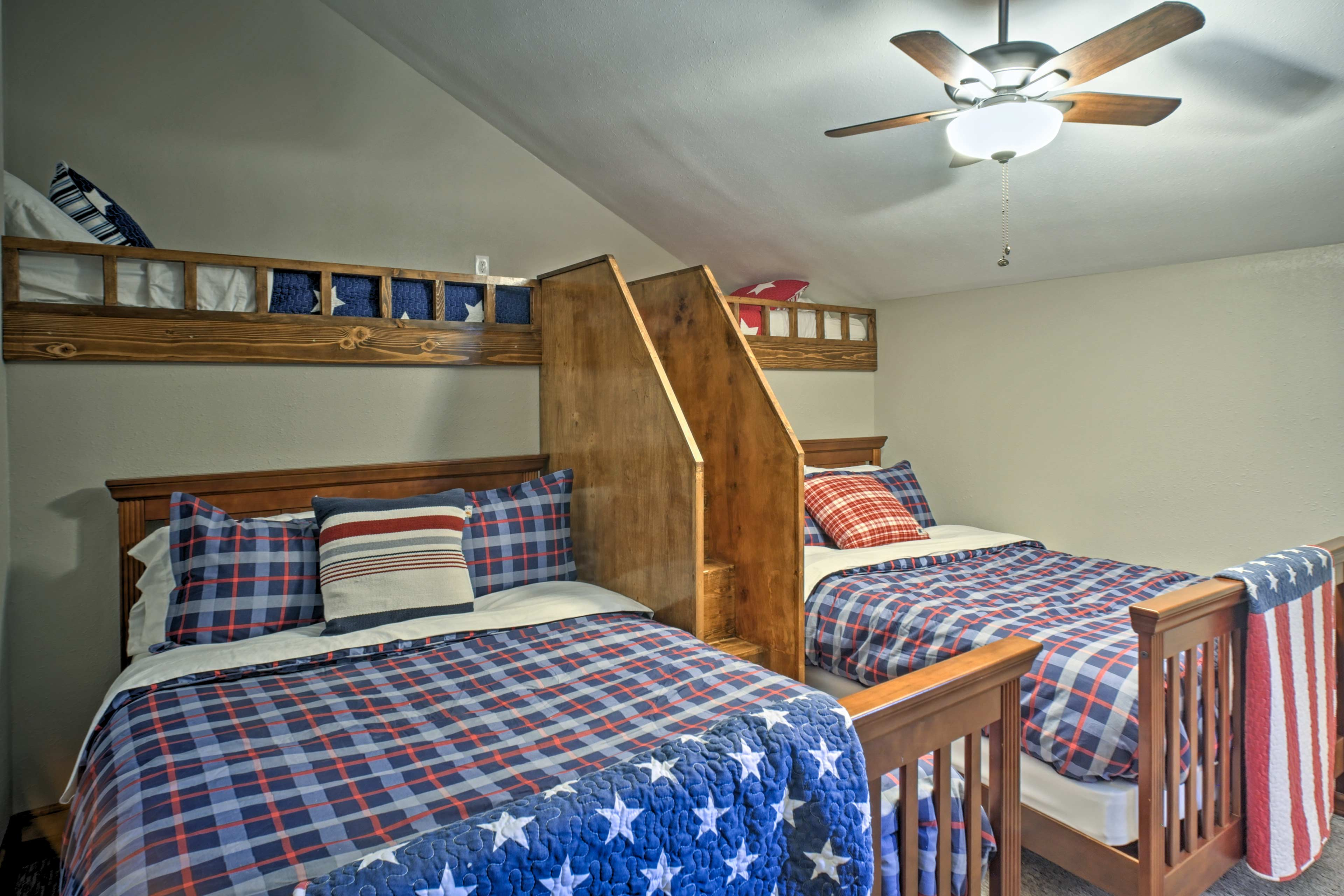 The kiddos will love to sleep on the full and twin beds in the third room!