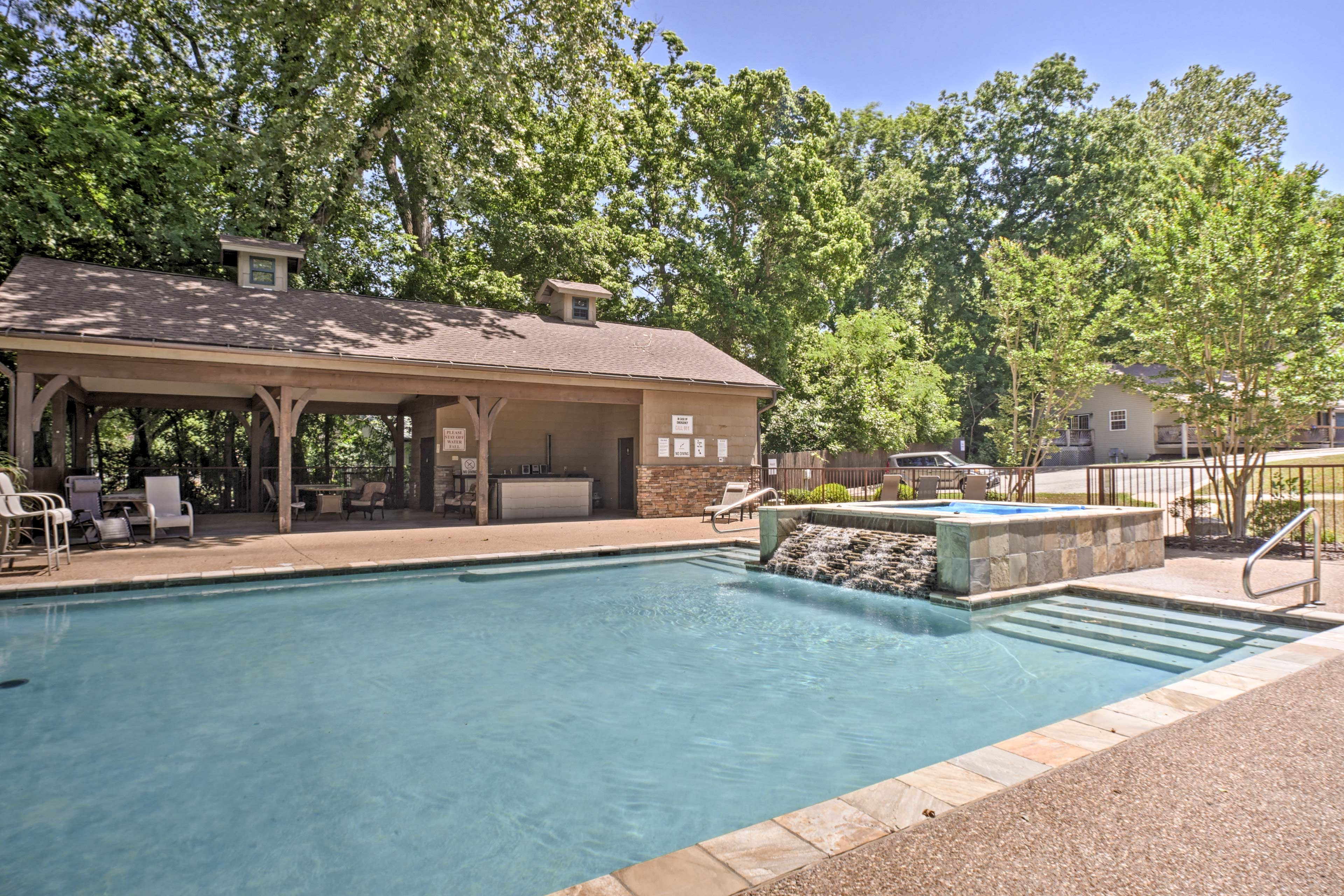 The community pool boasts a luxurious design.