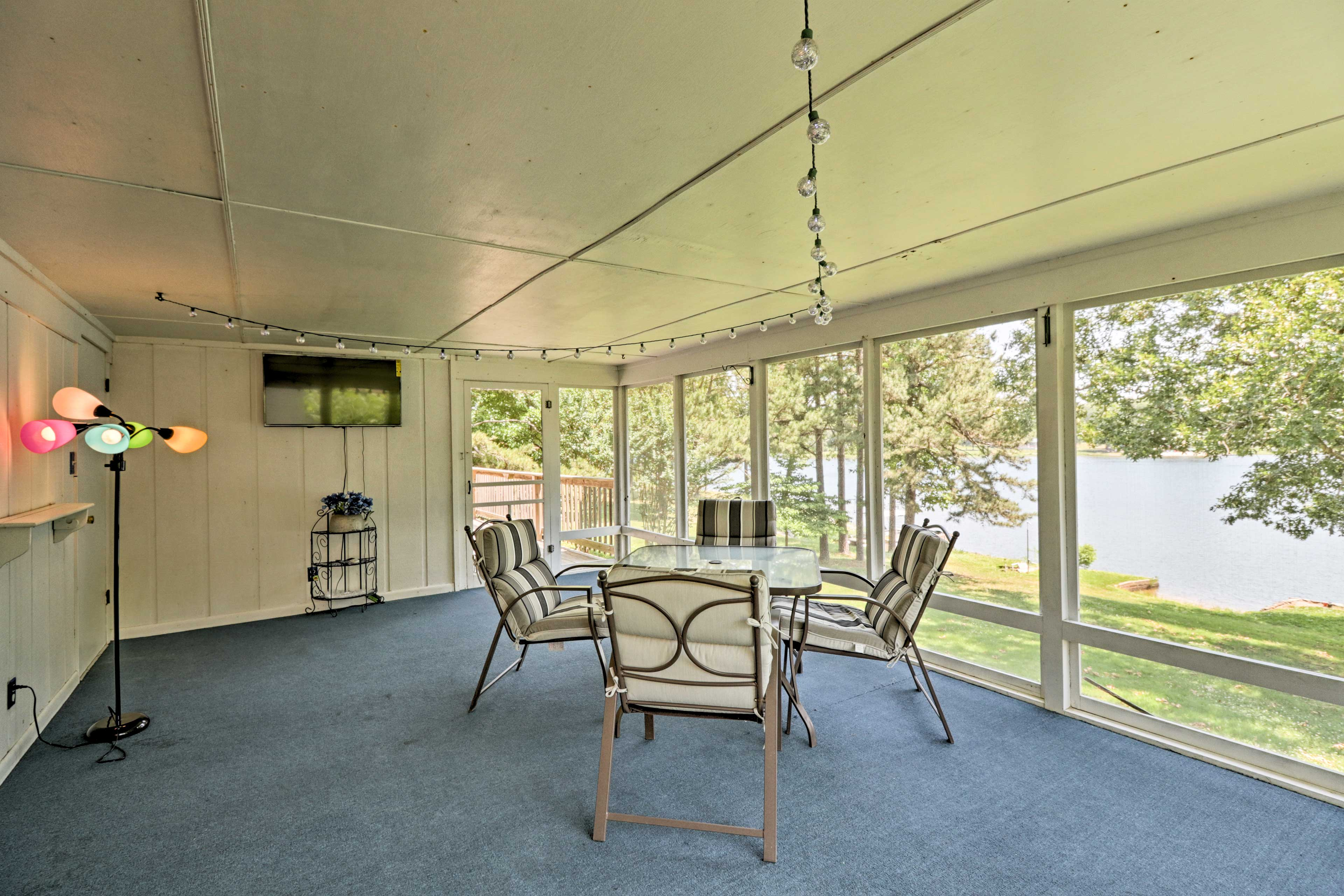 Set out snacks and watch the big game from the screened porch!