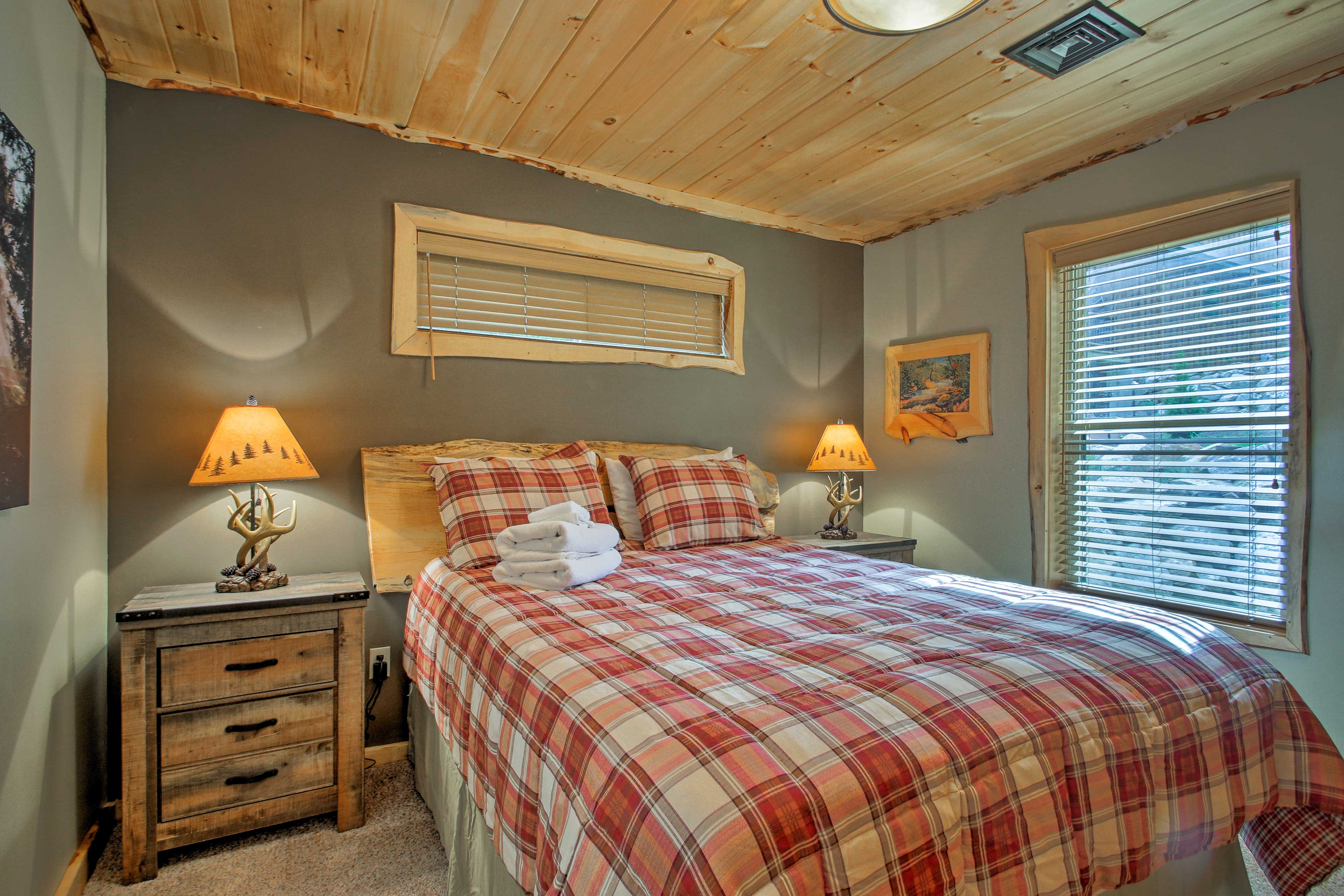Retreat to the first bedroom for rest and relaxation.