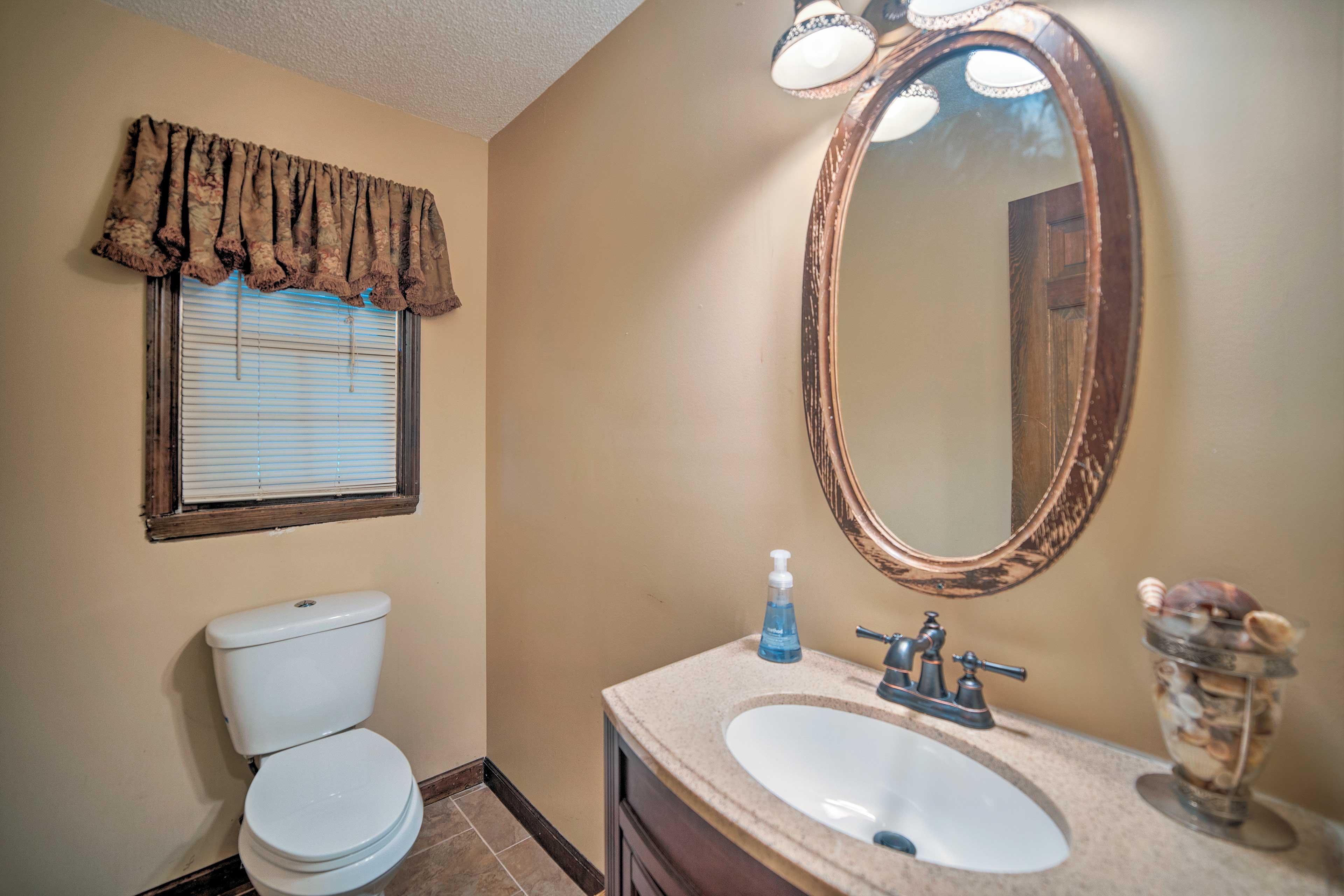 A half bathroom provides added privacy.