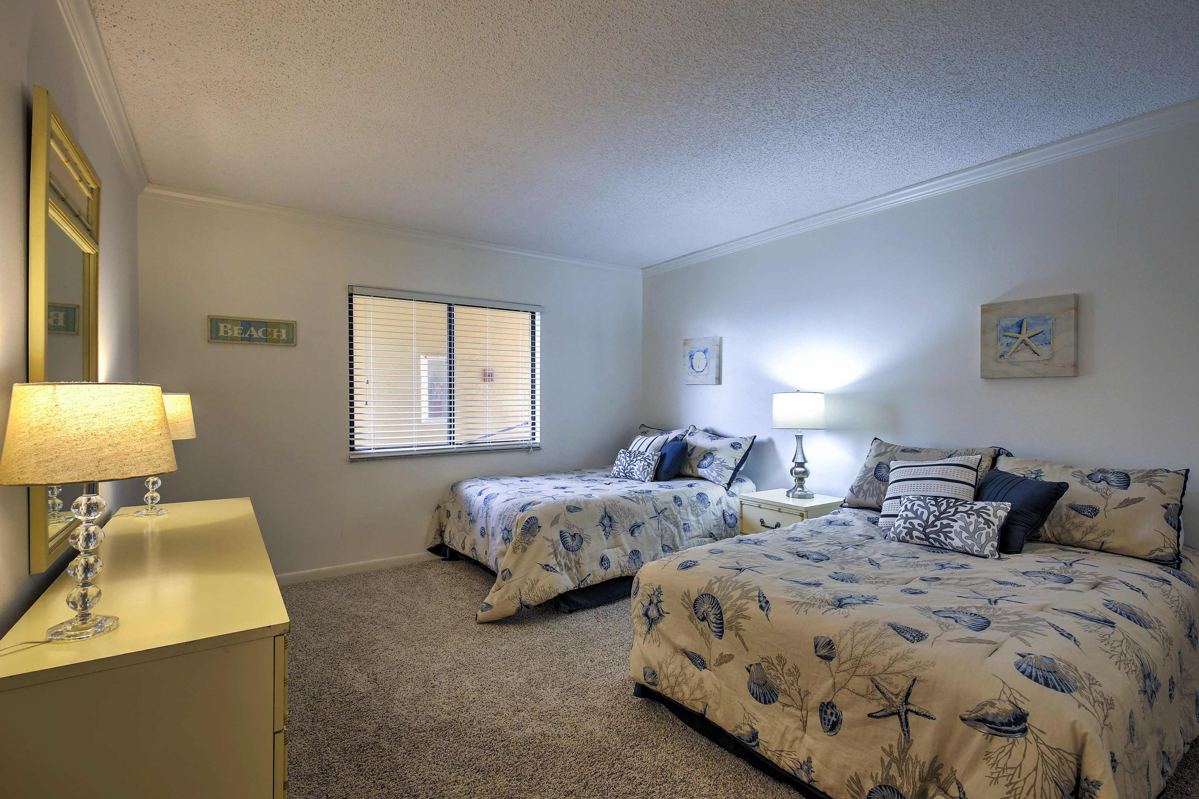 With 2 full beds, the second bedroom sleeps 4.
