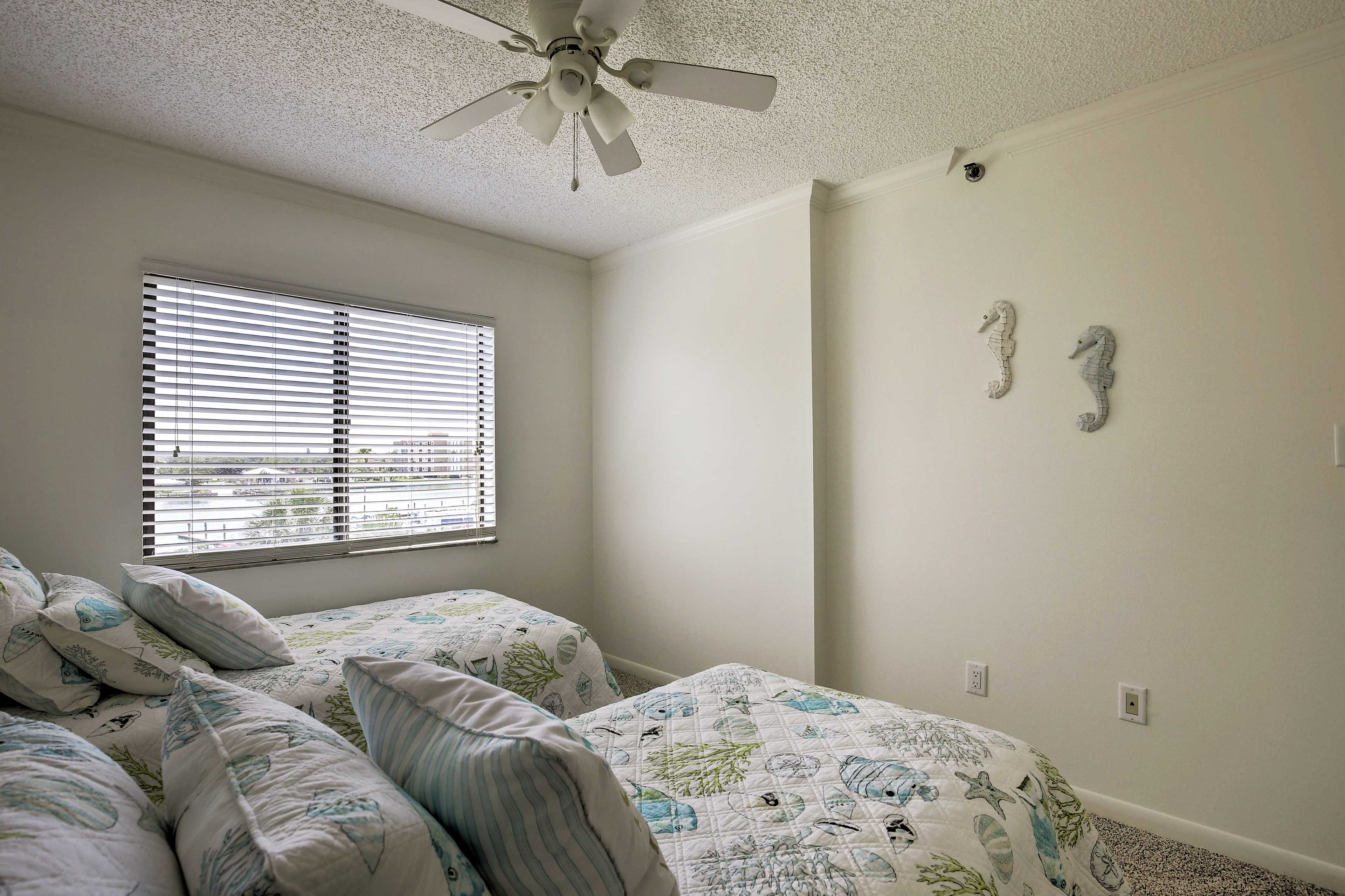 Tuck your tired tykes into the 2 twin beds.