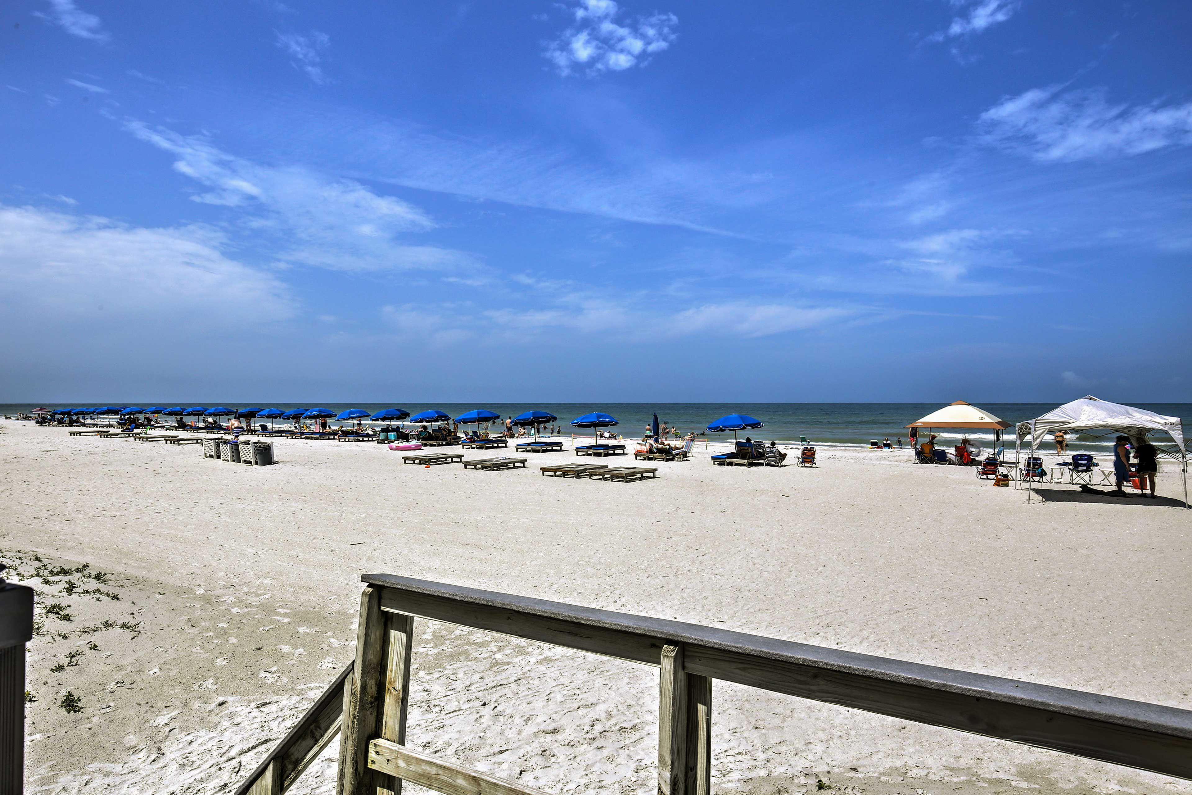 The white sand shores are mere steps away!