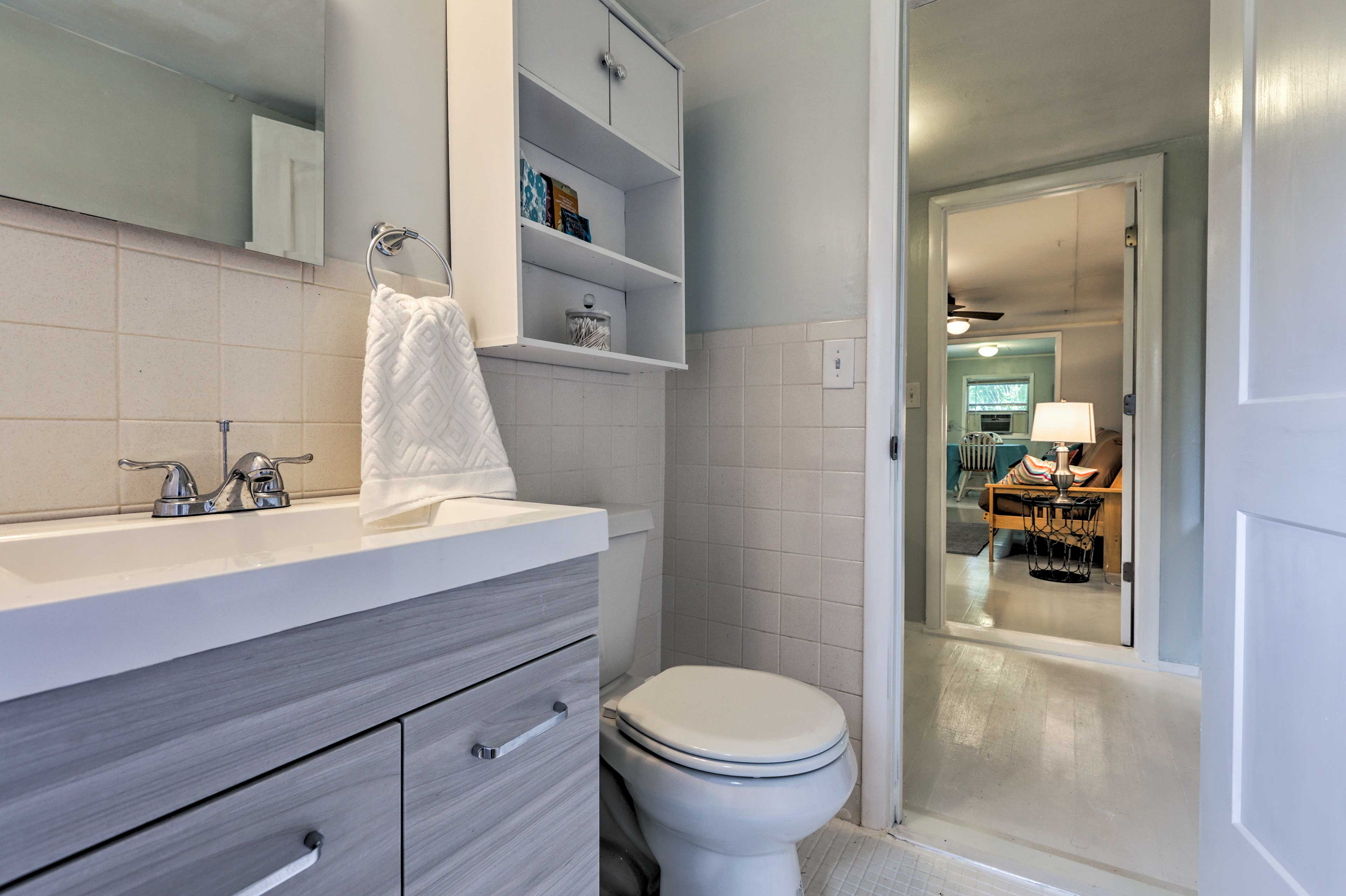 Head into the bathroom to freshen up.