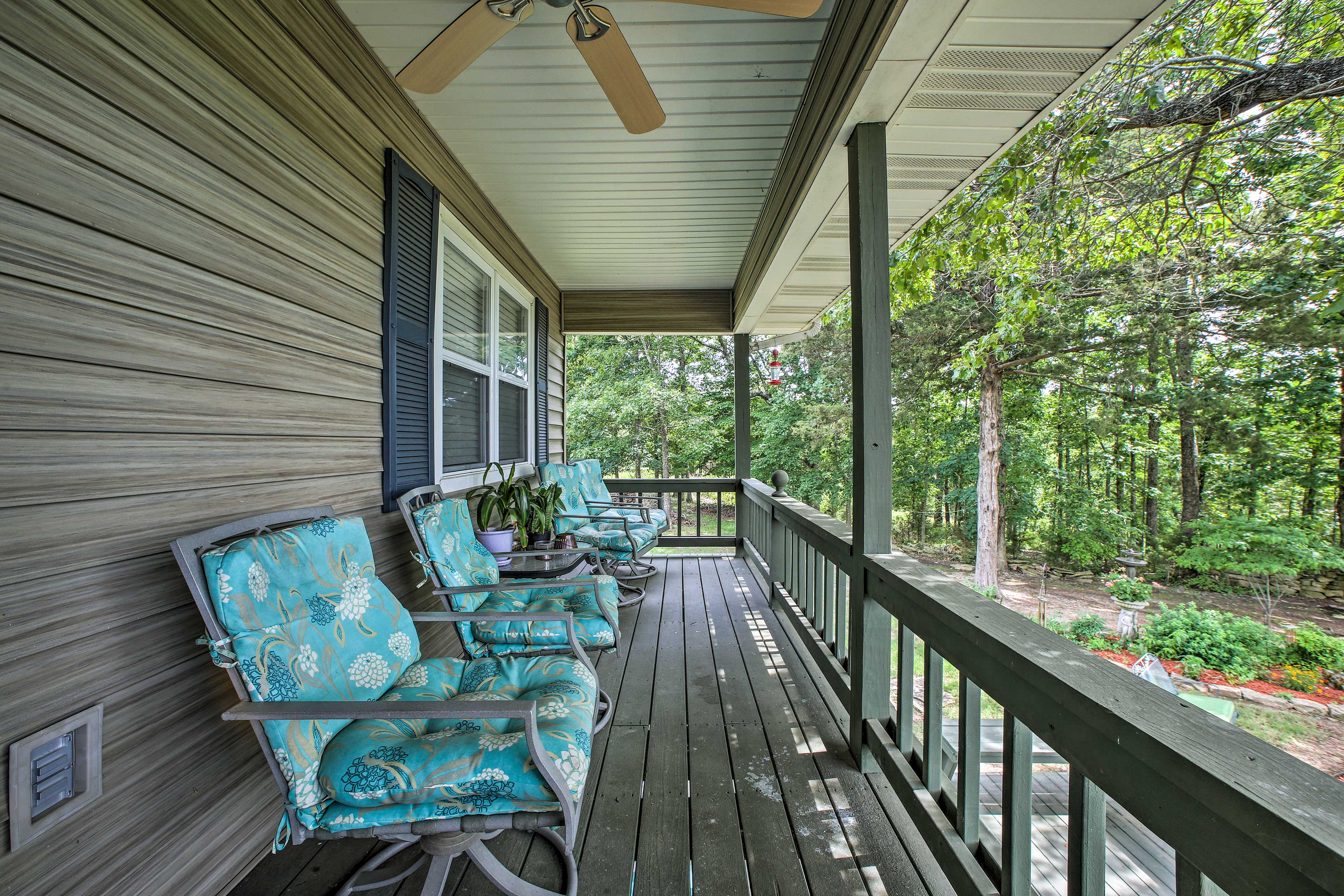 Spend early mornings on the shaded porch.
