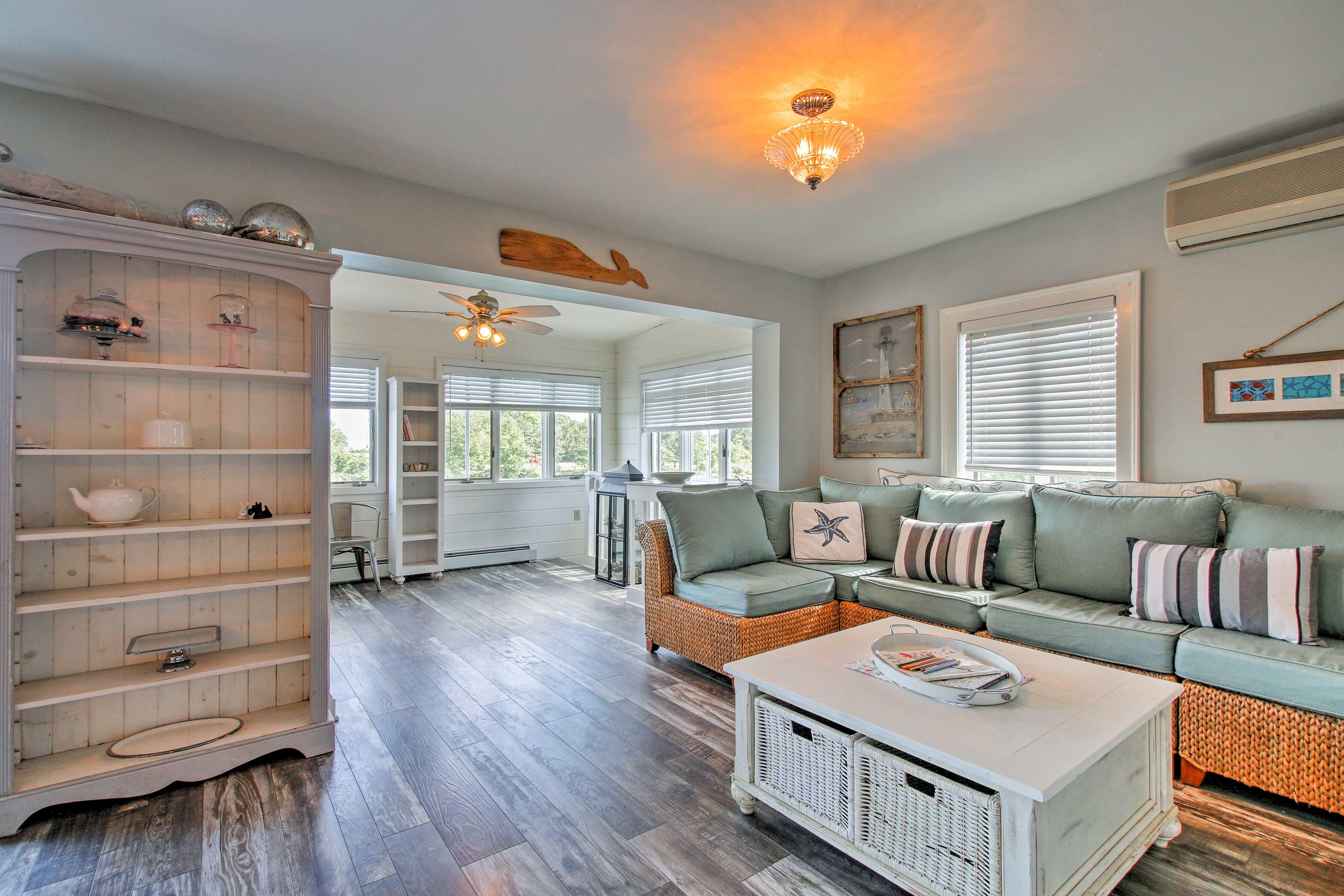 Beach-themed decor adorns each room in the home.