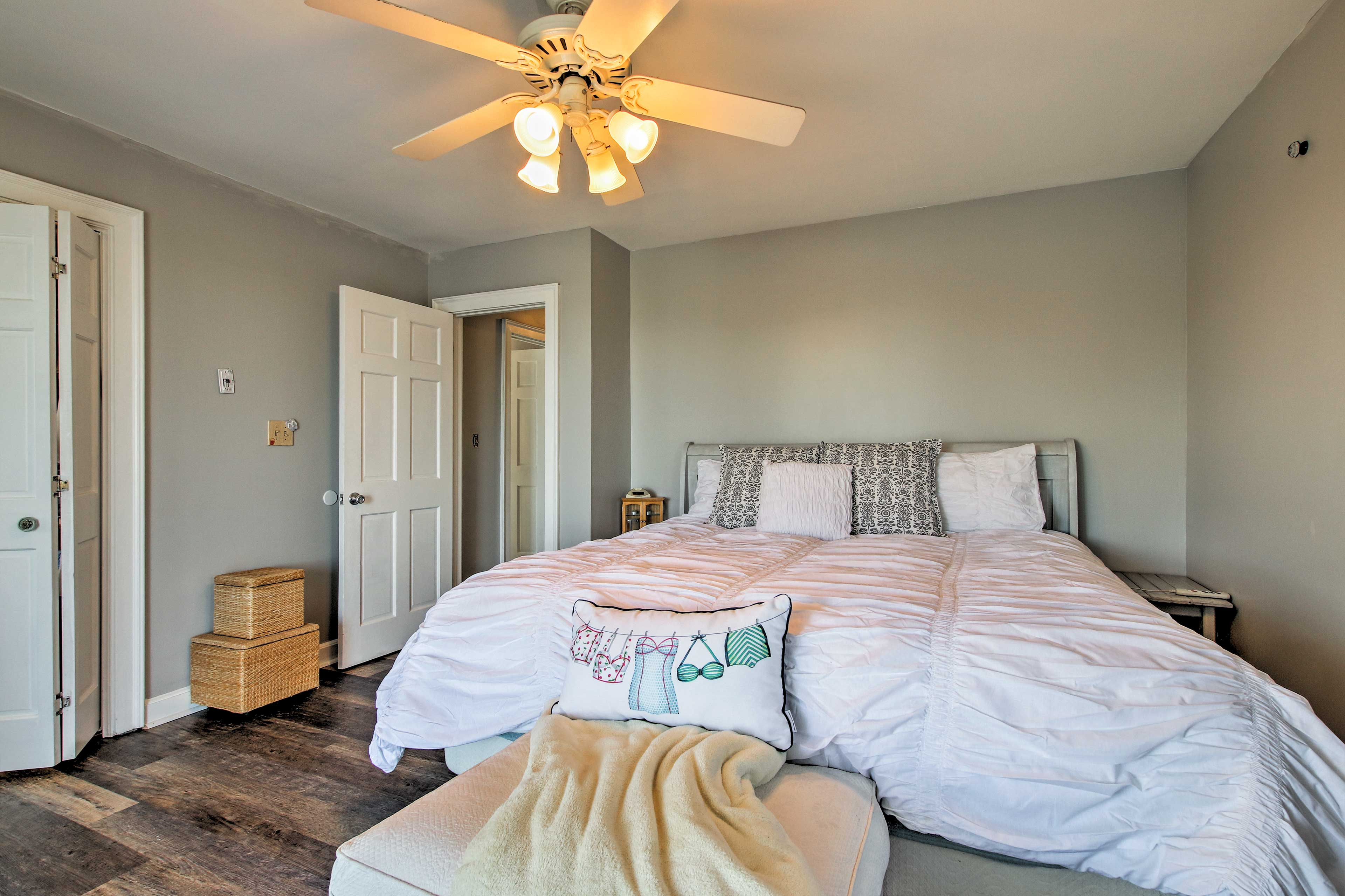 Take solace in the master bedroom for privacy.