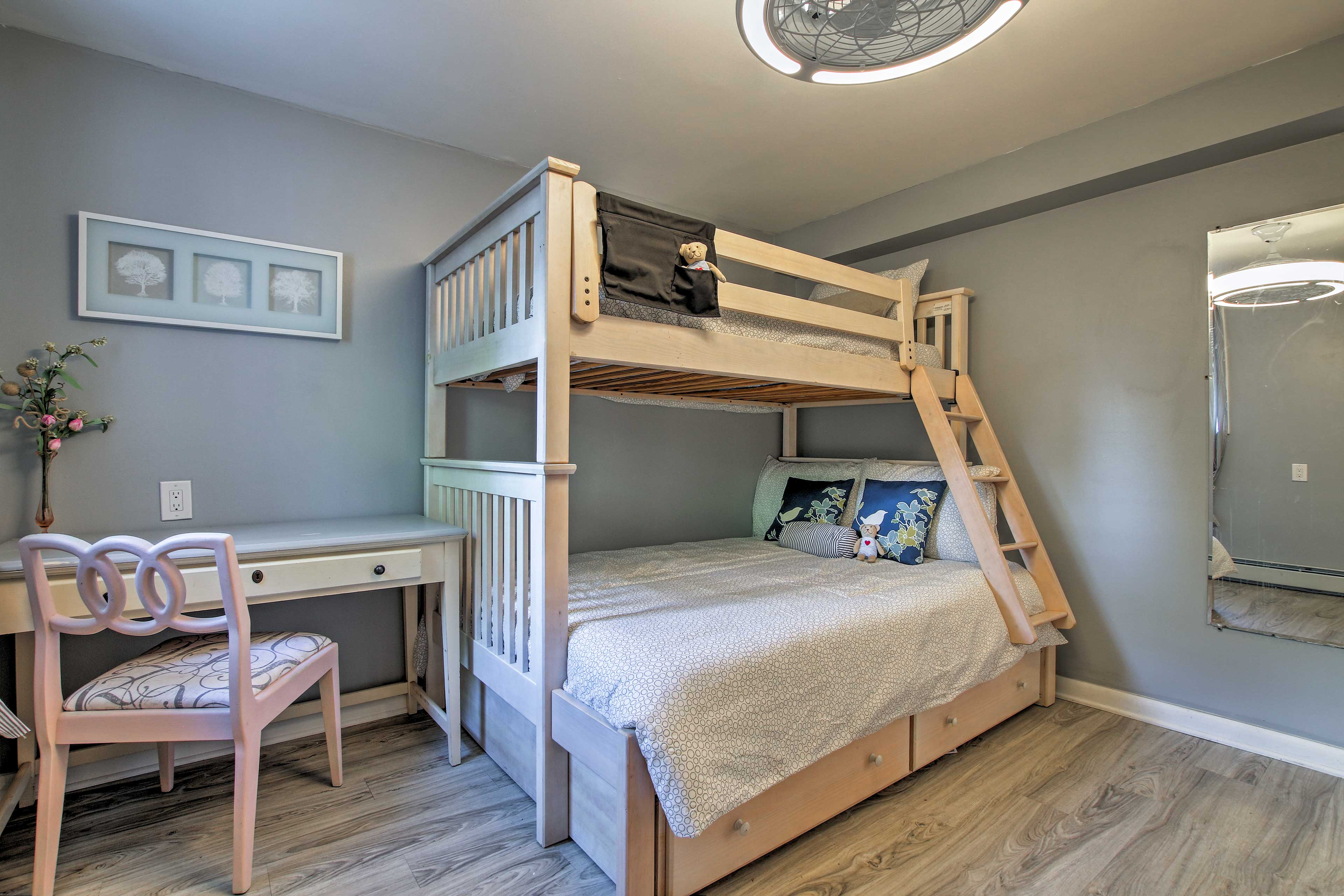 With a twin bunk bed, this room sleeps 2.