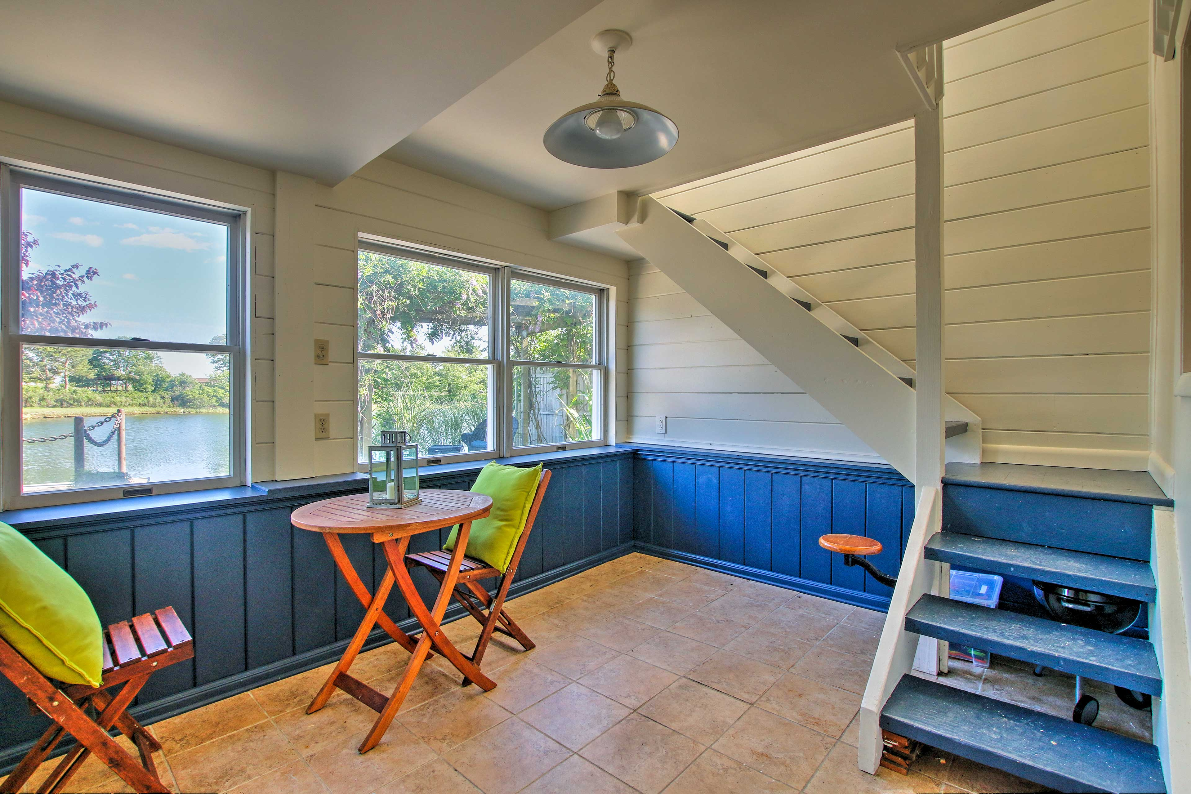 The lower level also includes a charming hangout room.