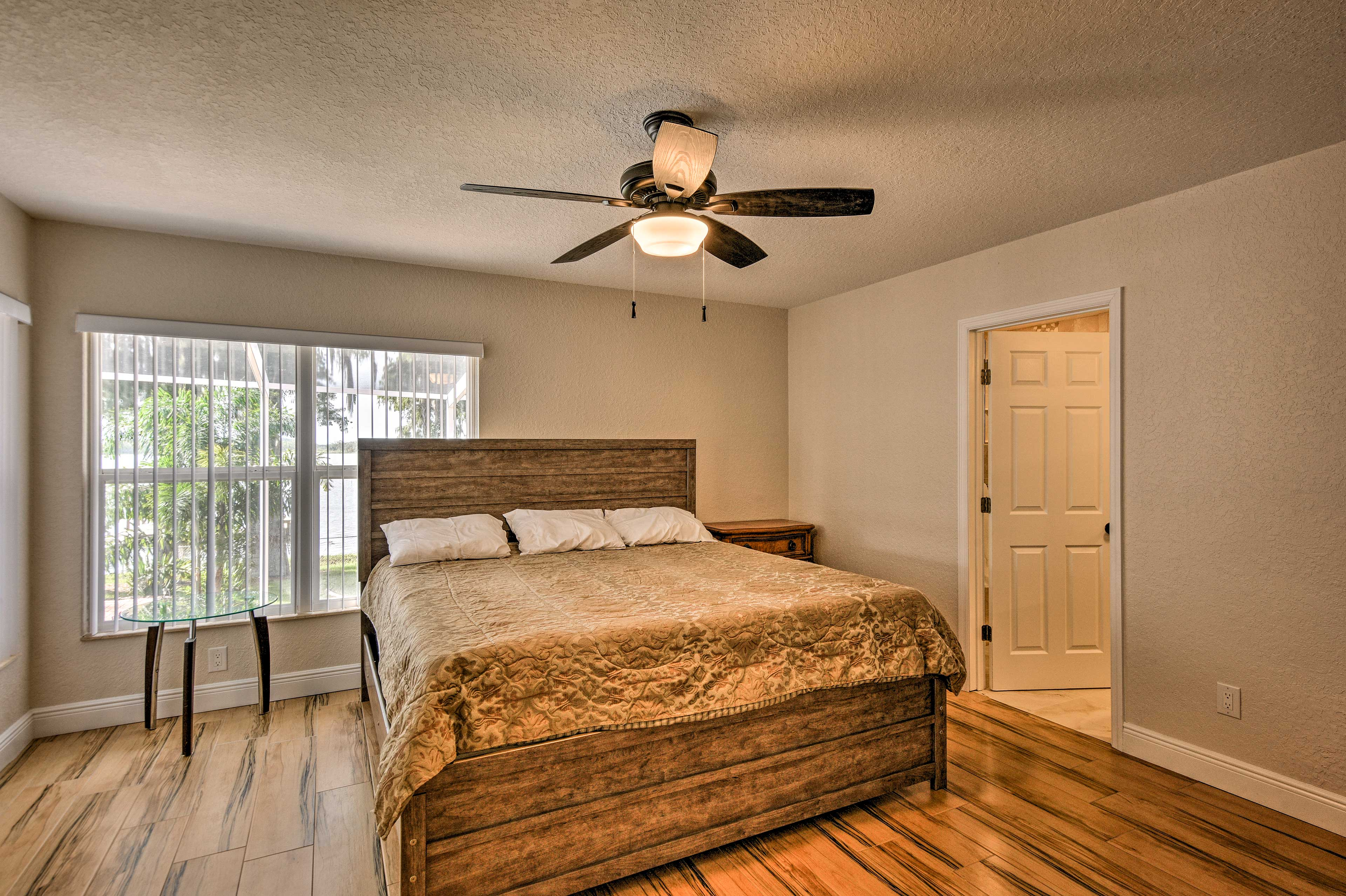 Get a good night of sleep in this king master bedroom!