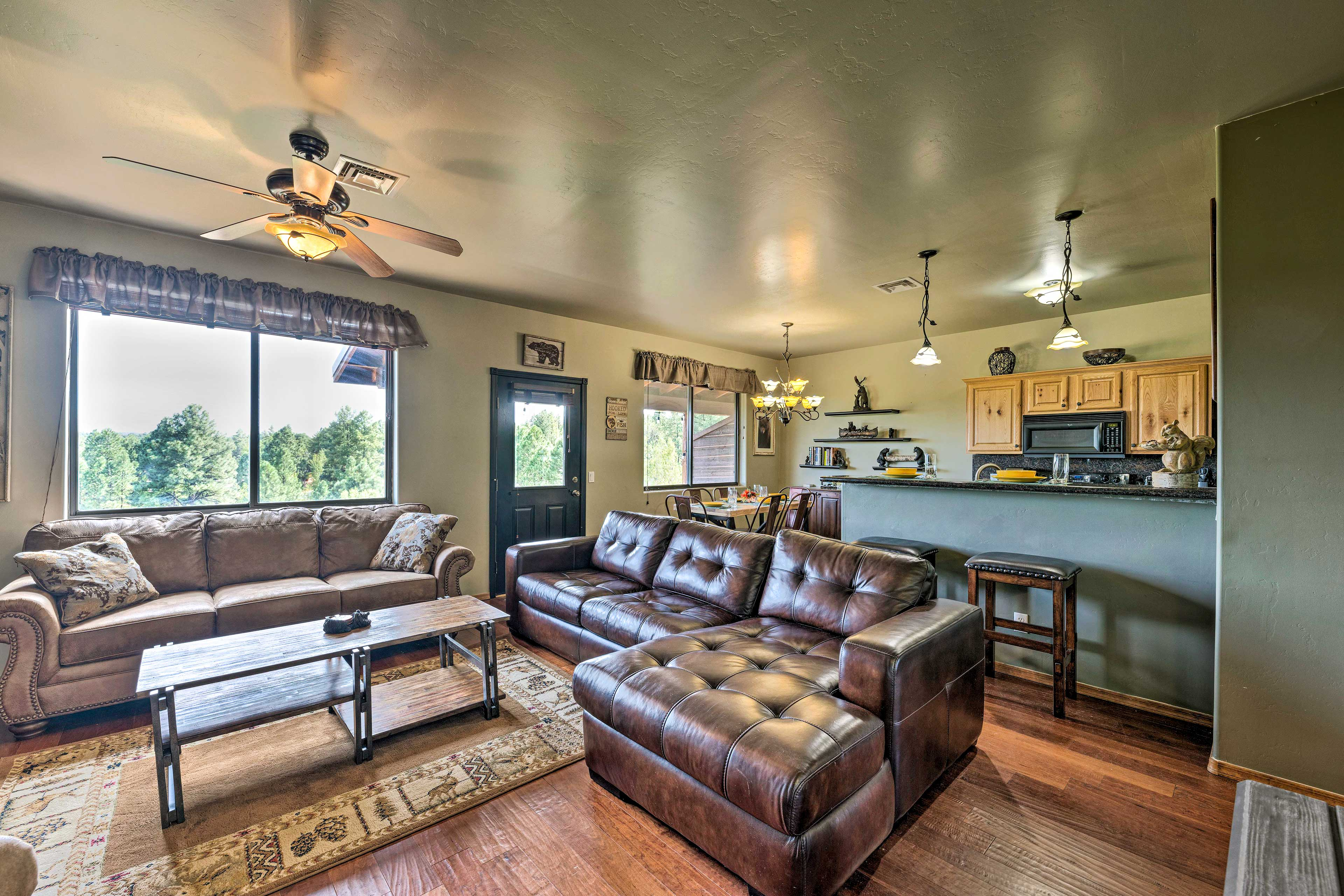 The open floor plan ensures the group's chef won't get left out of the action.