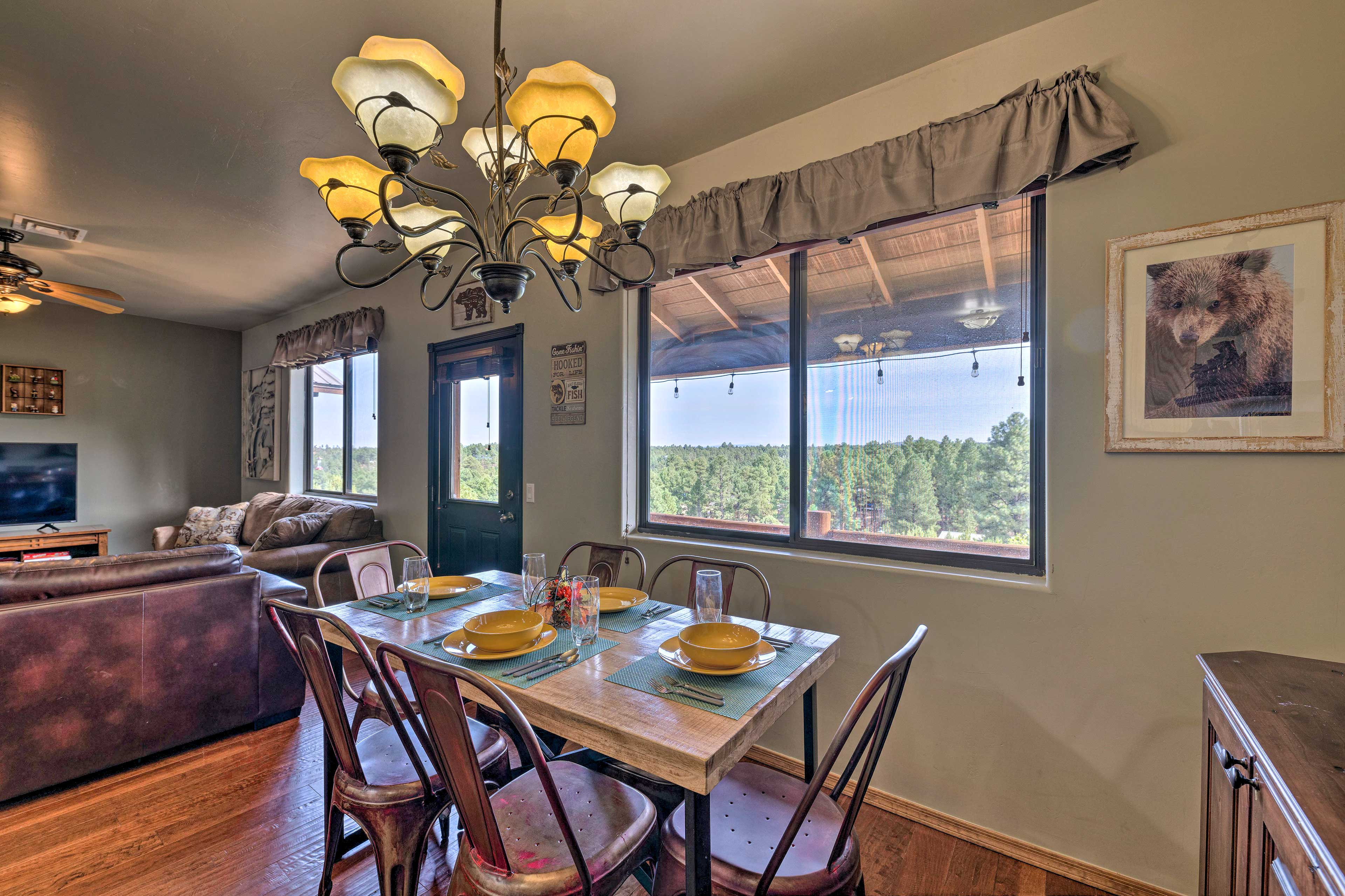 Feel like you're picnicking in the forest with views from the dining table!