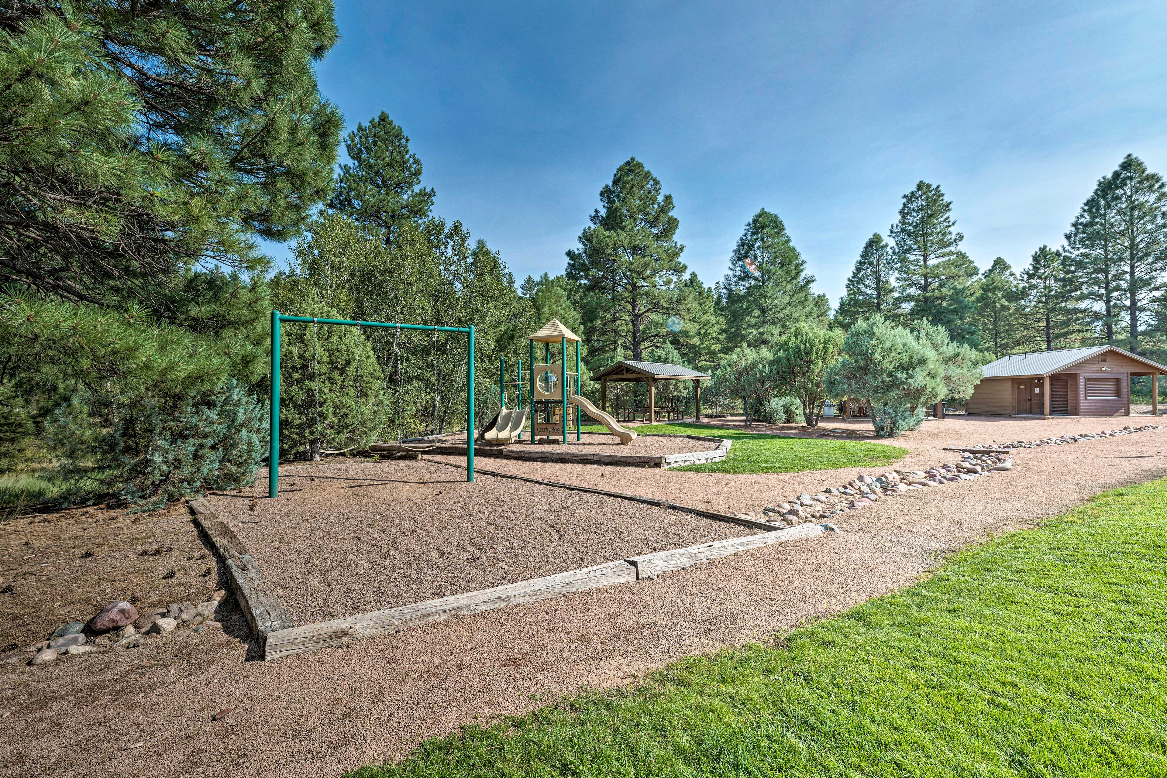 Let the kids have fun on the swing set and jungle gym.