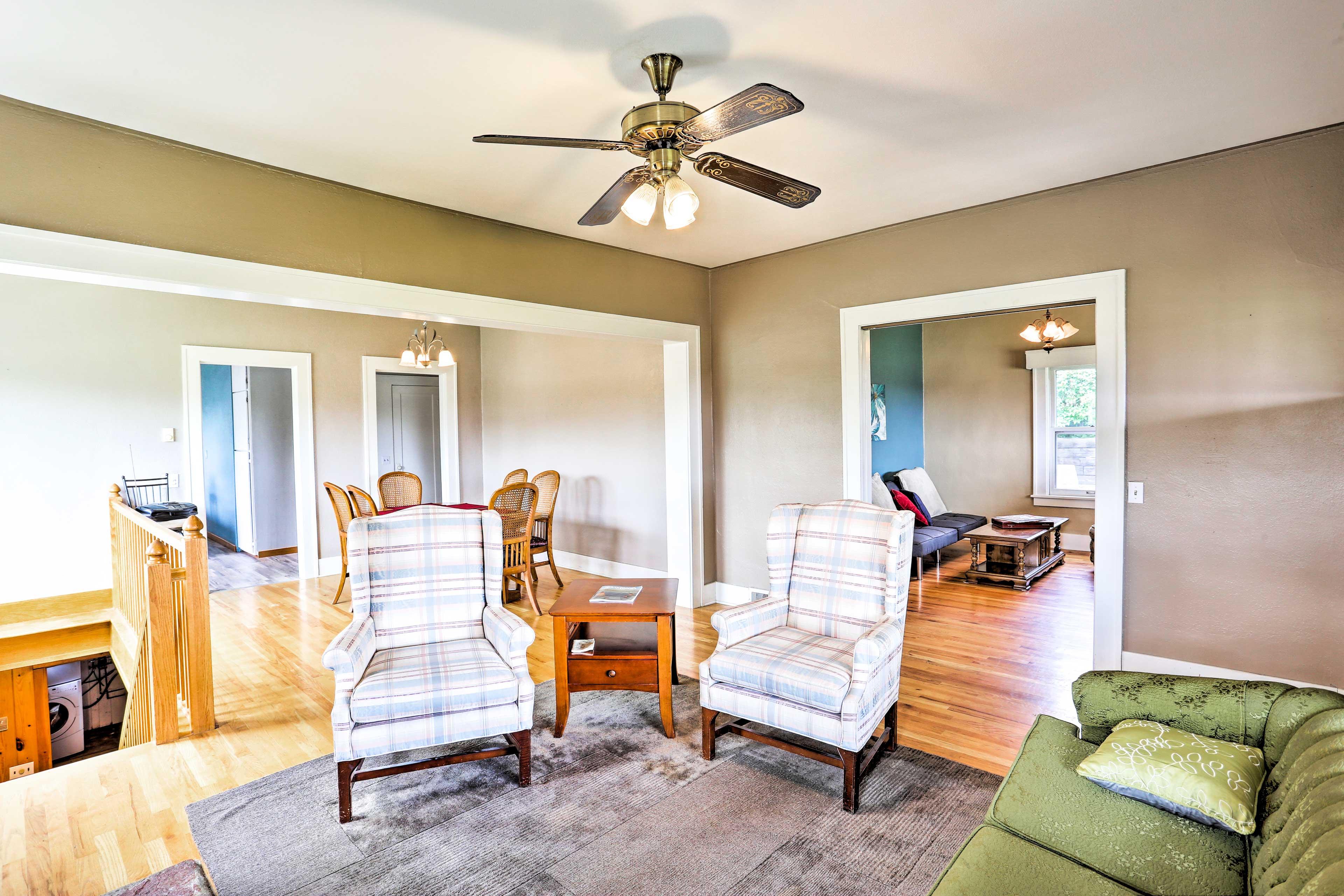 Cozy furnishings line the comfortable interior.