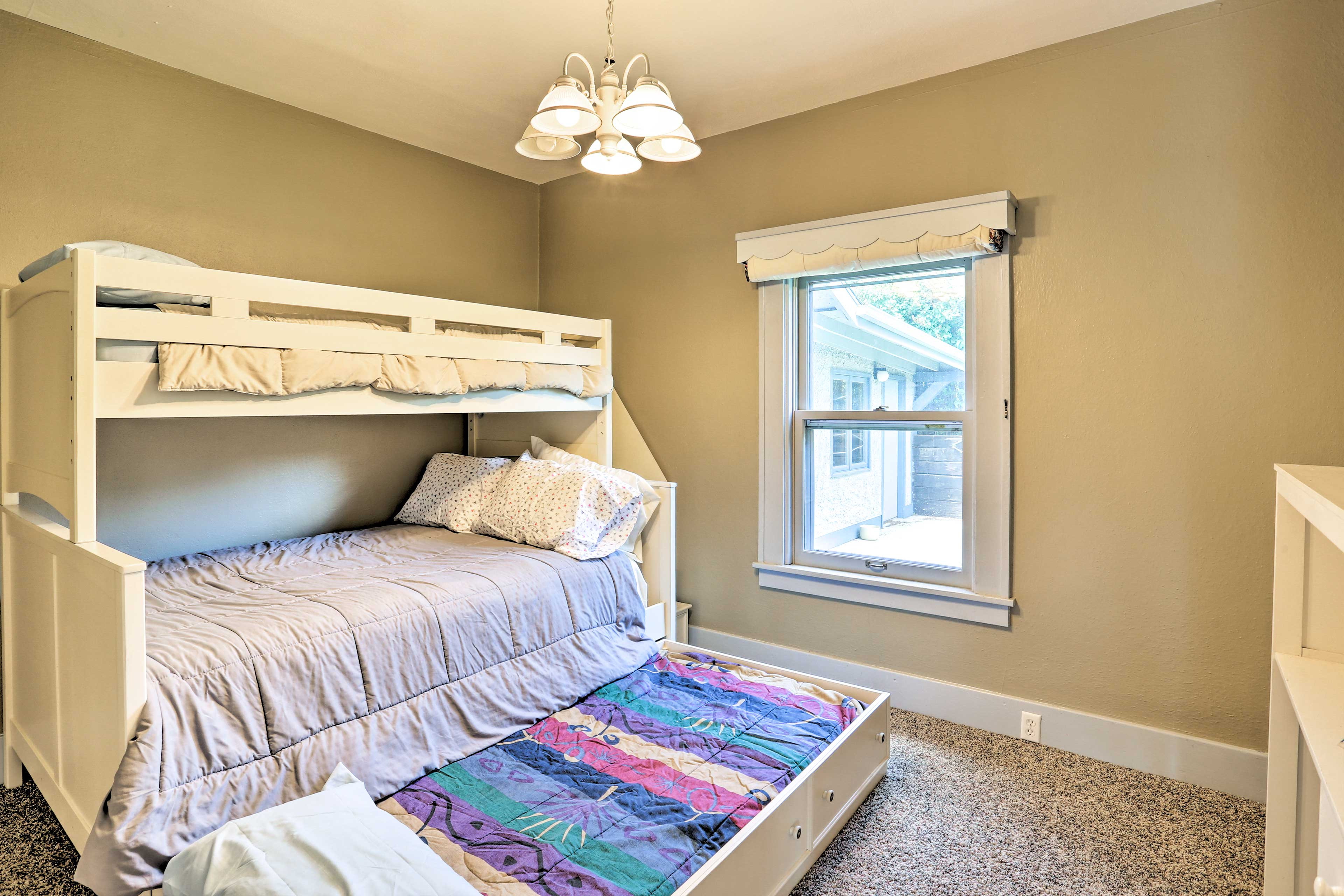 Kids will love claiming this bunk room.