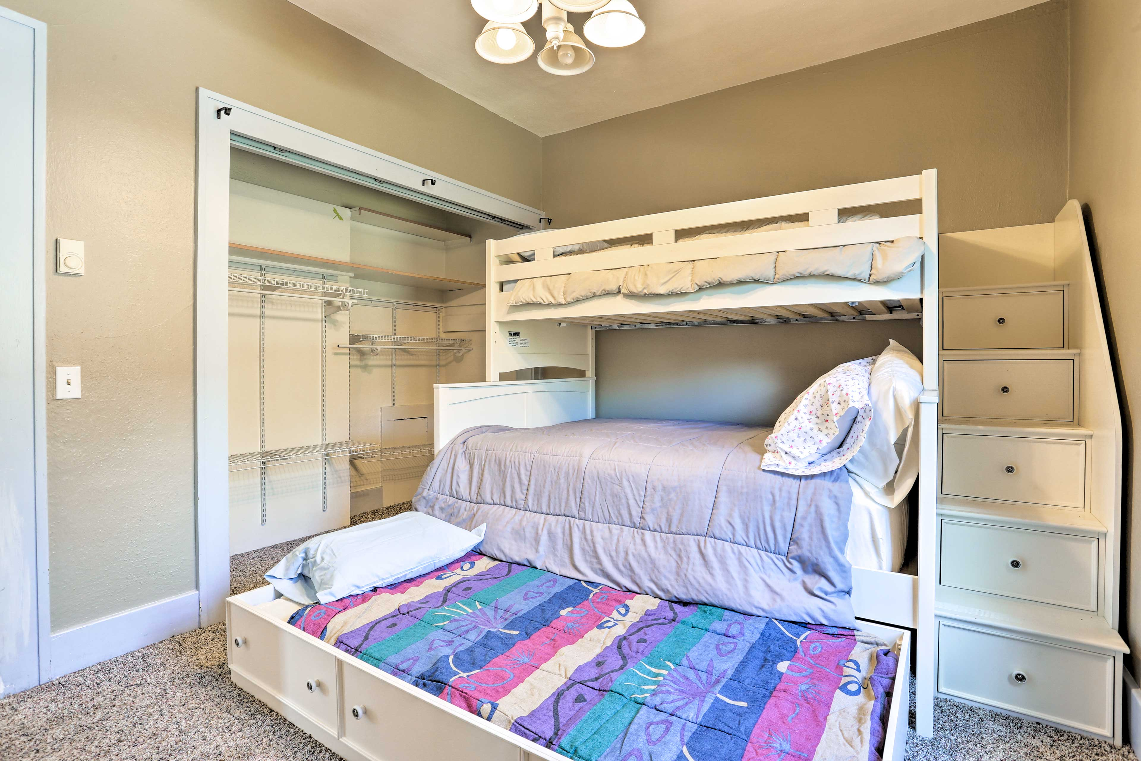 Up to 4 can sleep in this cozy bedroom.