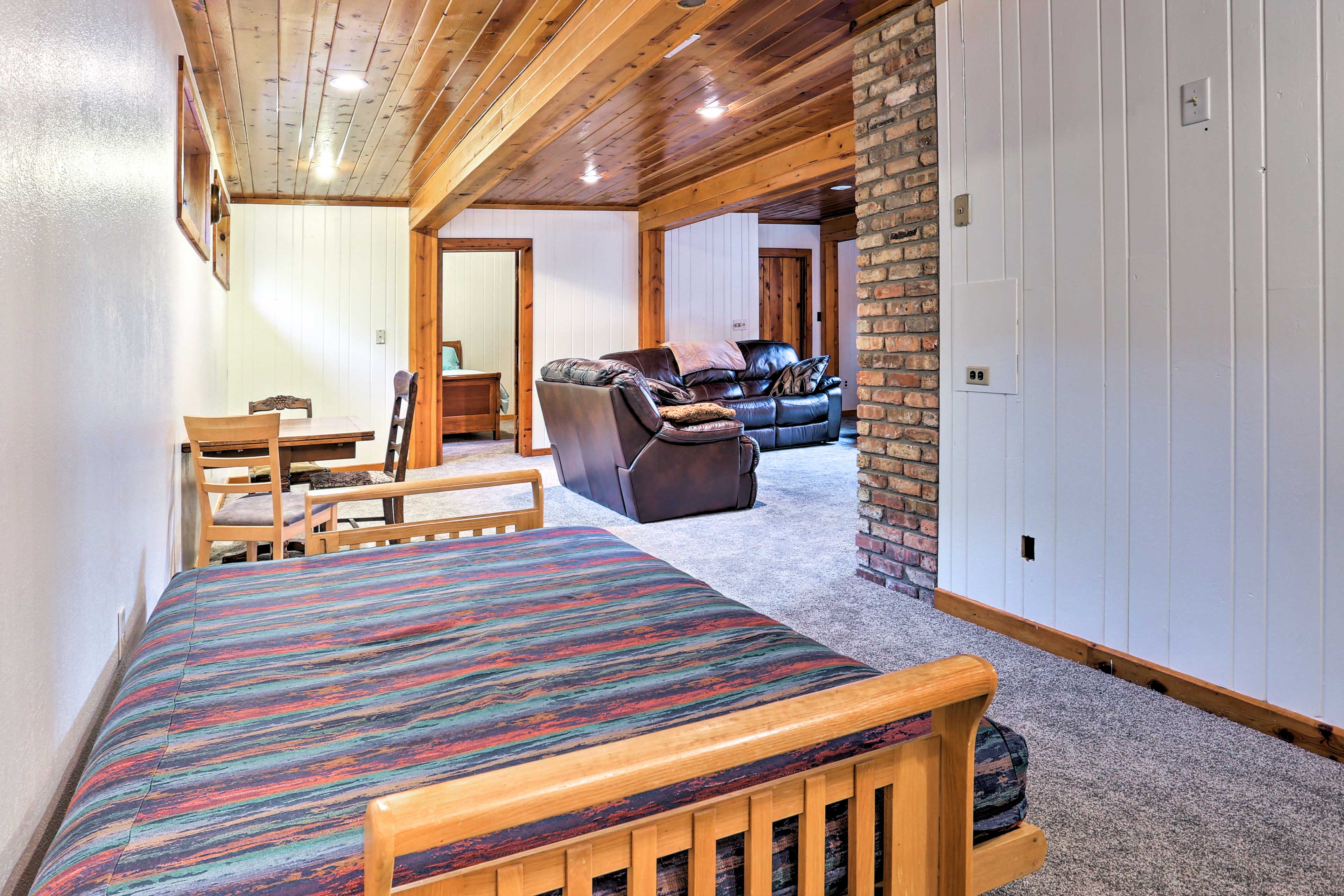 The downstairs space also includes a futon for addition sleeping.