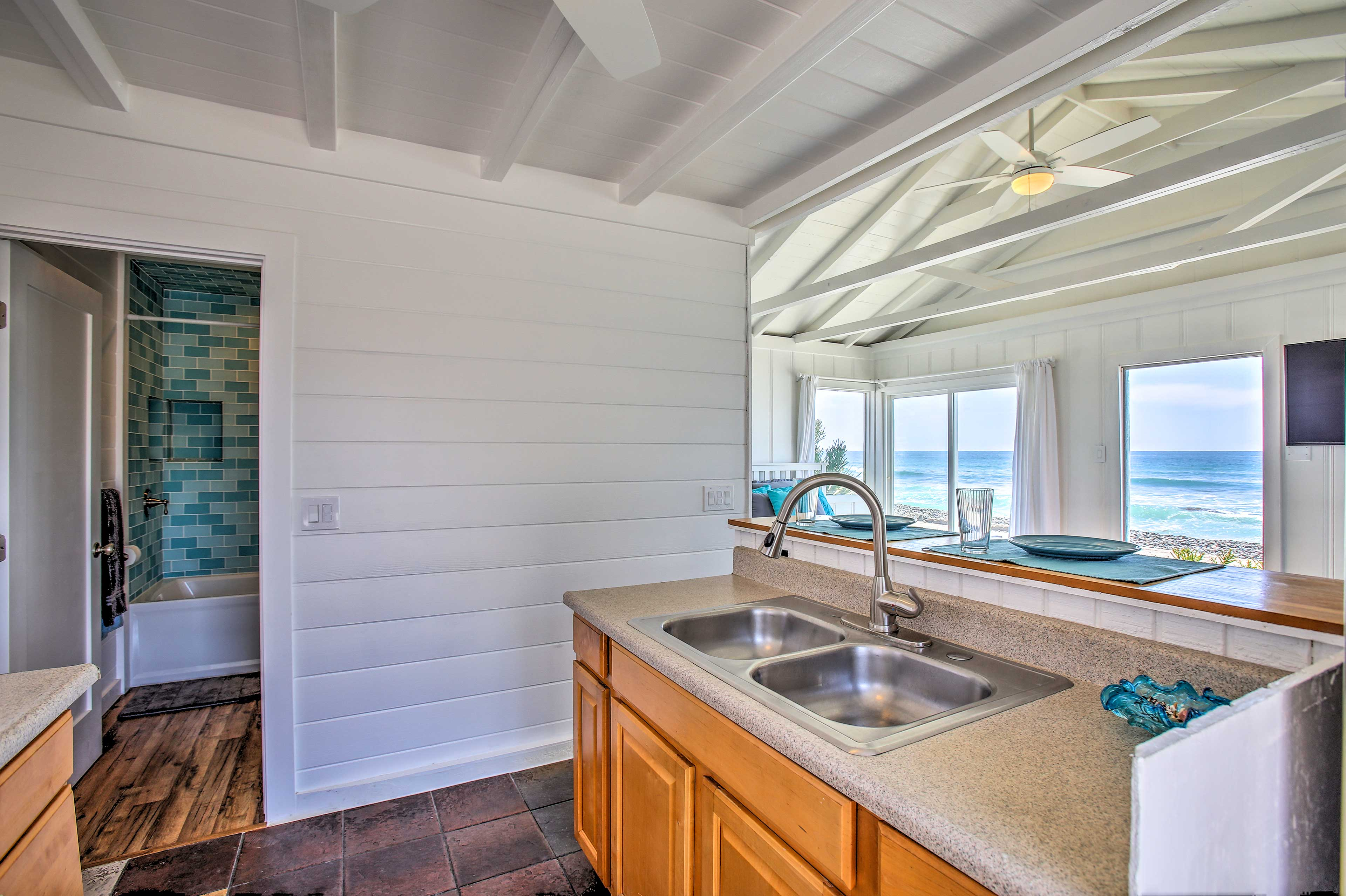 Enjoy the views of the beach while you cook.