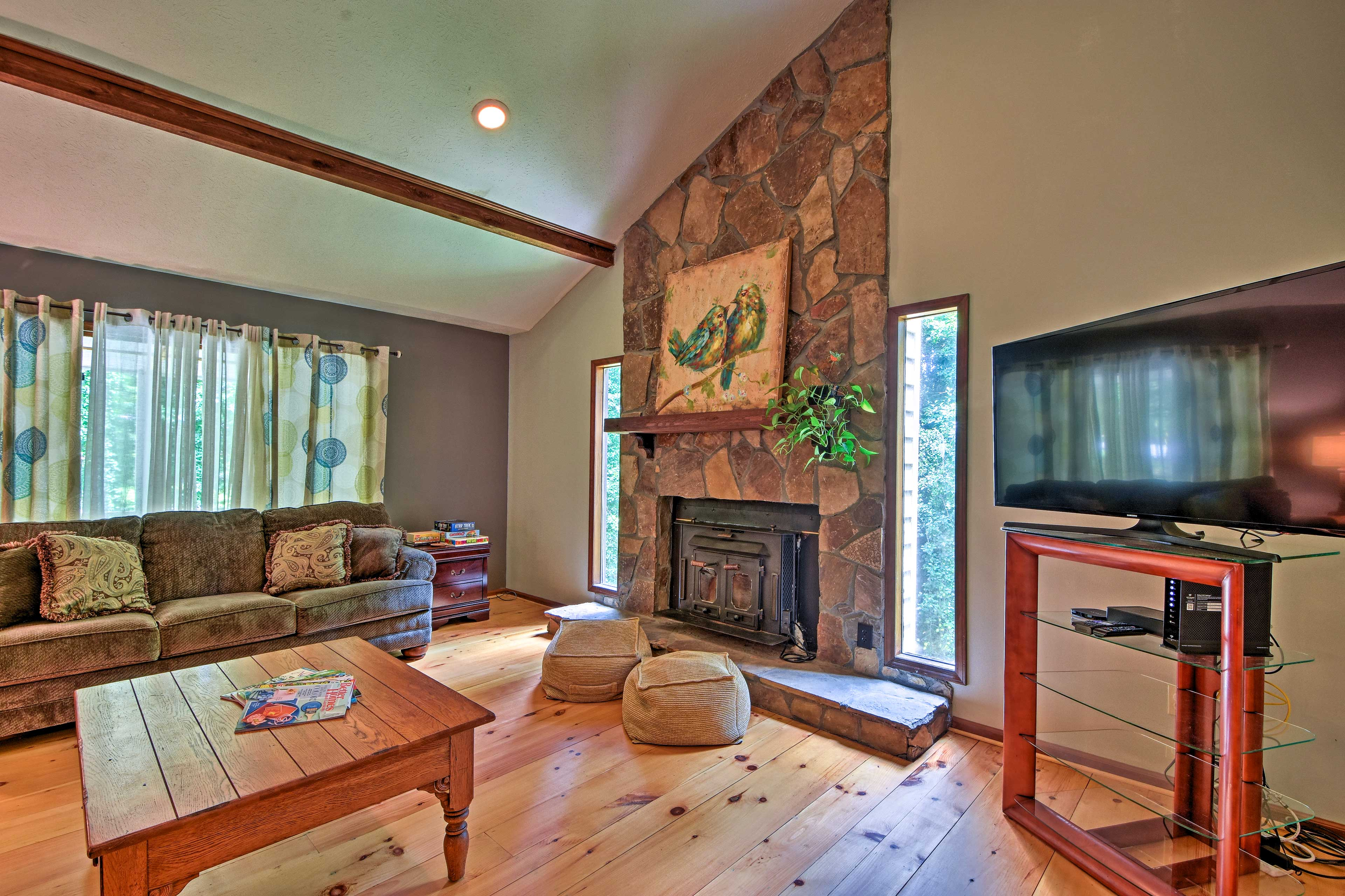 Wide yellow-pine floors create a rustic and inviting interior.