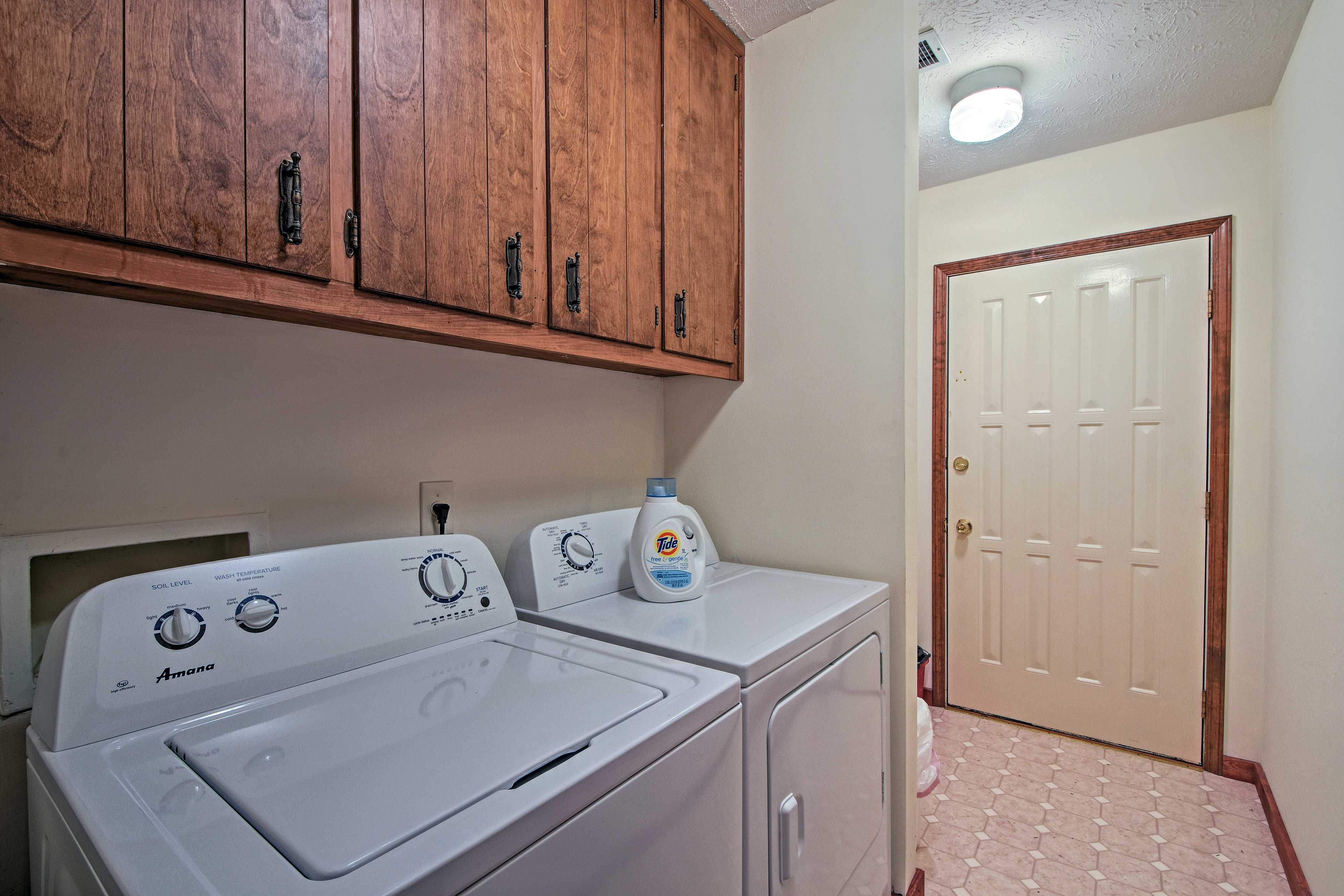 'Deer Path' has both a washer and dryer for your convenience.