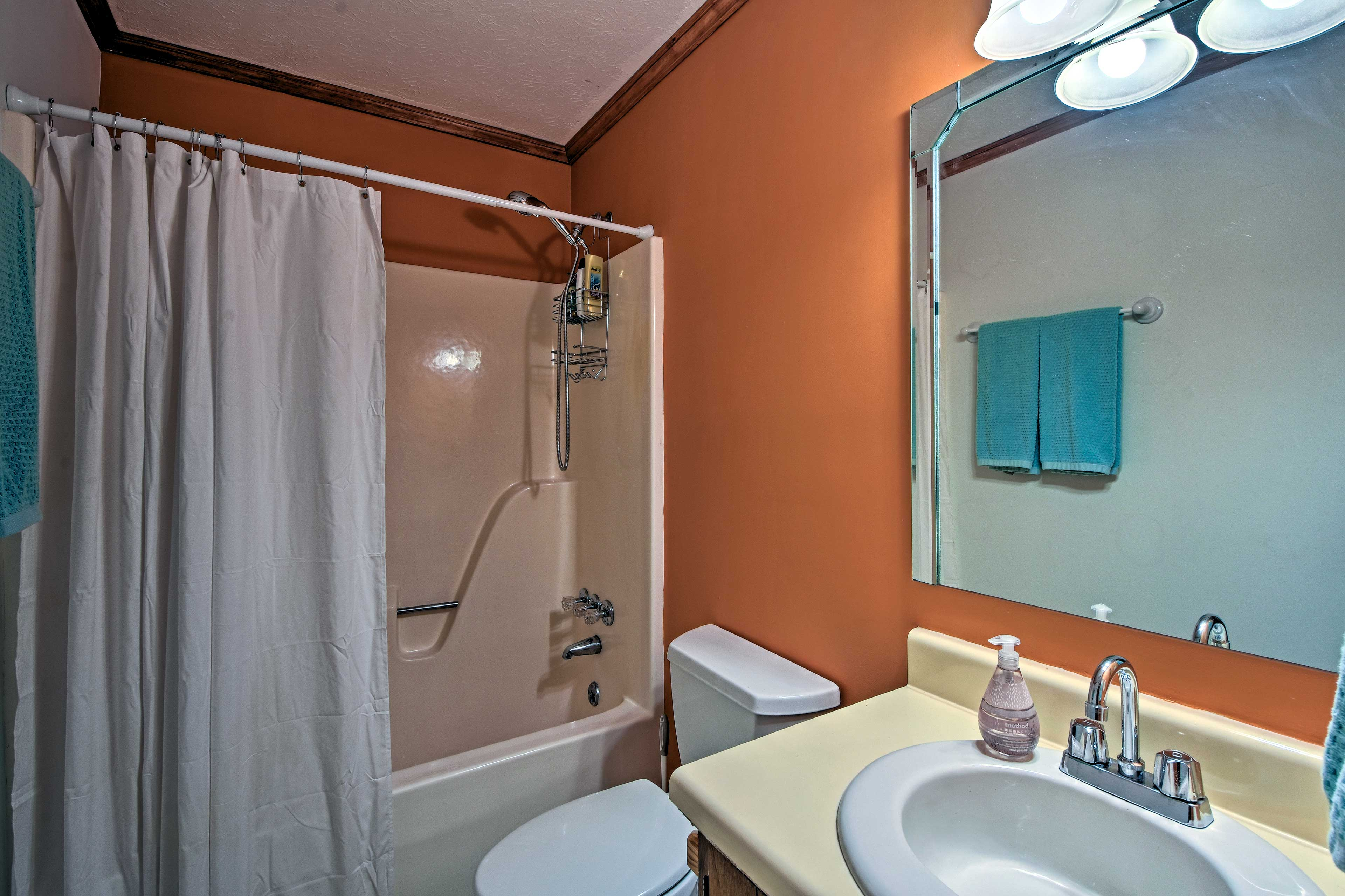 The second full bathroom is located on the lower level with a shower/tub combo.