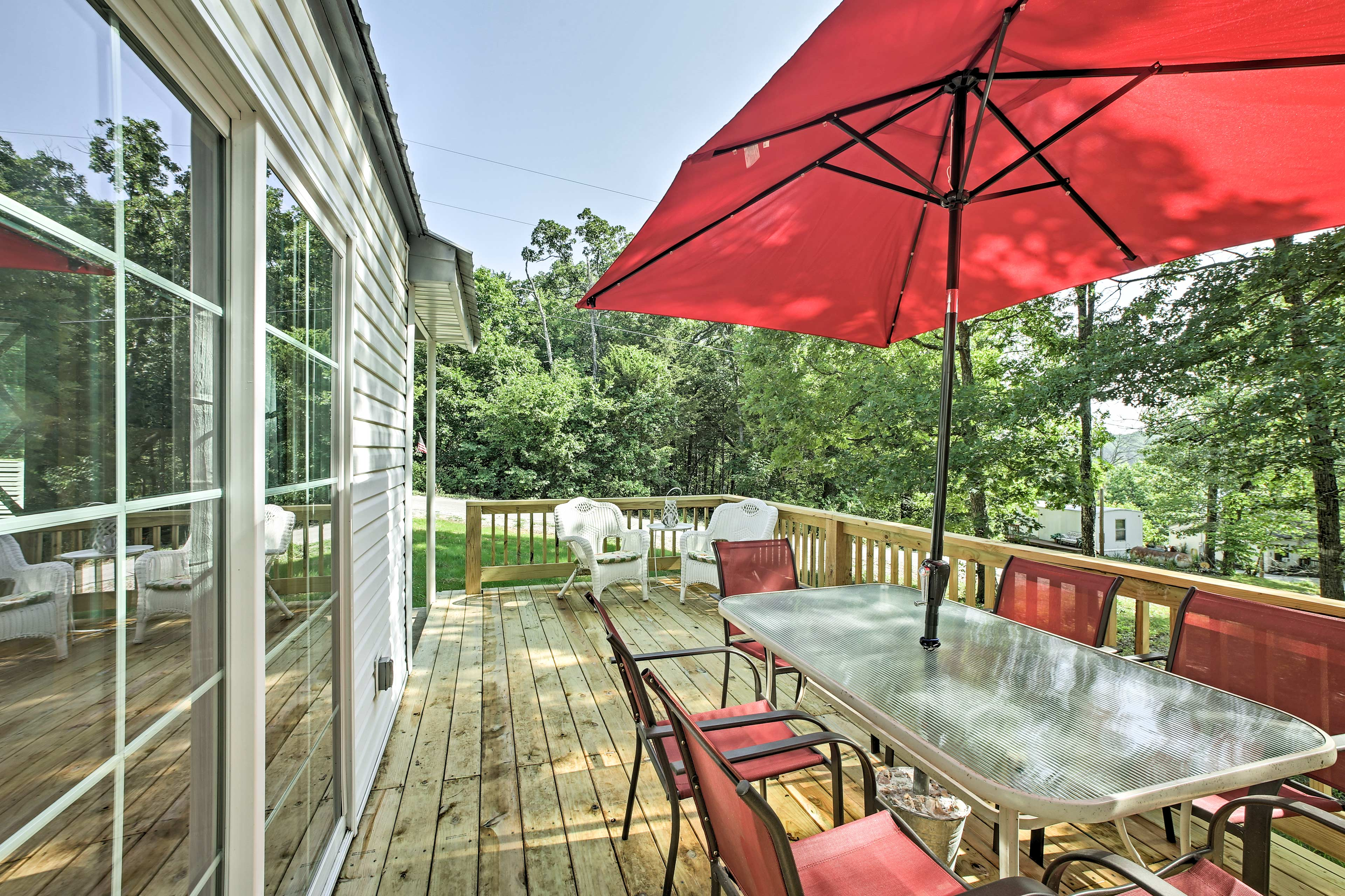 The Cedarcreek, MO home is just steps away from Bull Shoals Lake!