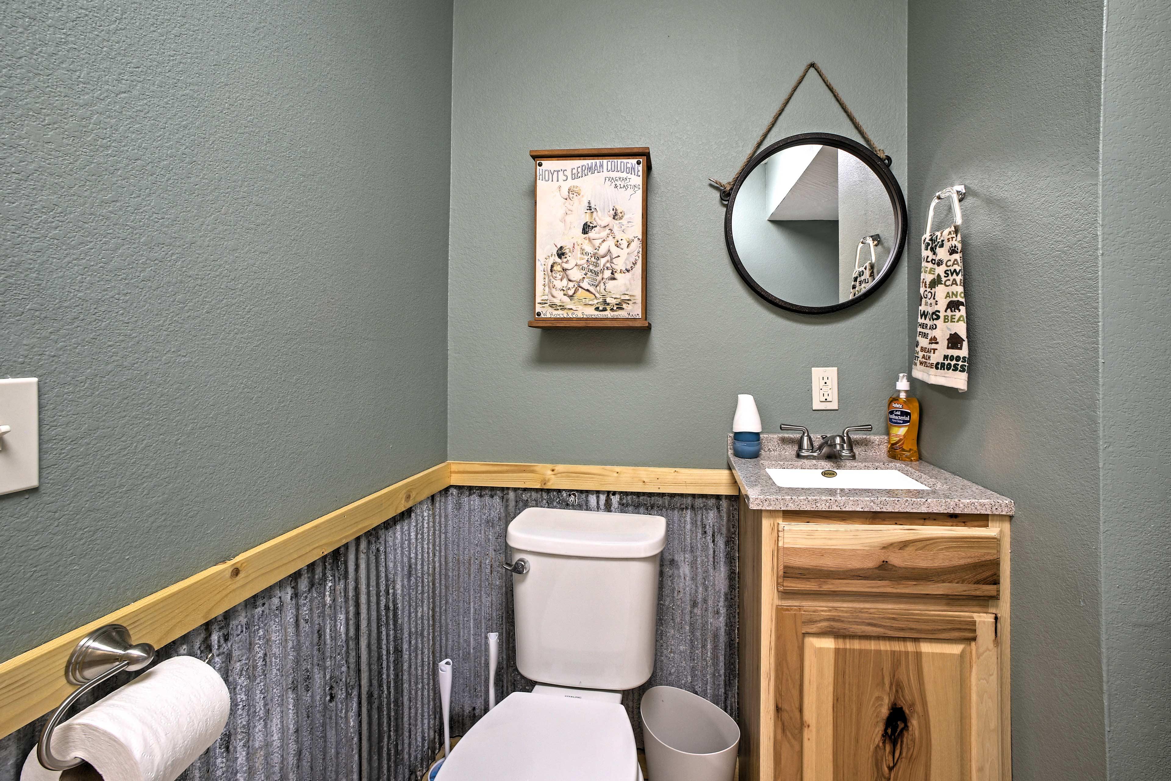 A half bathroom is an added bonus.