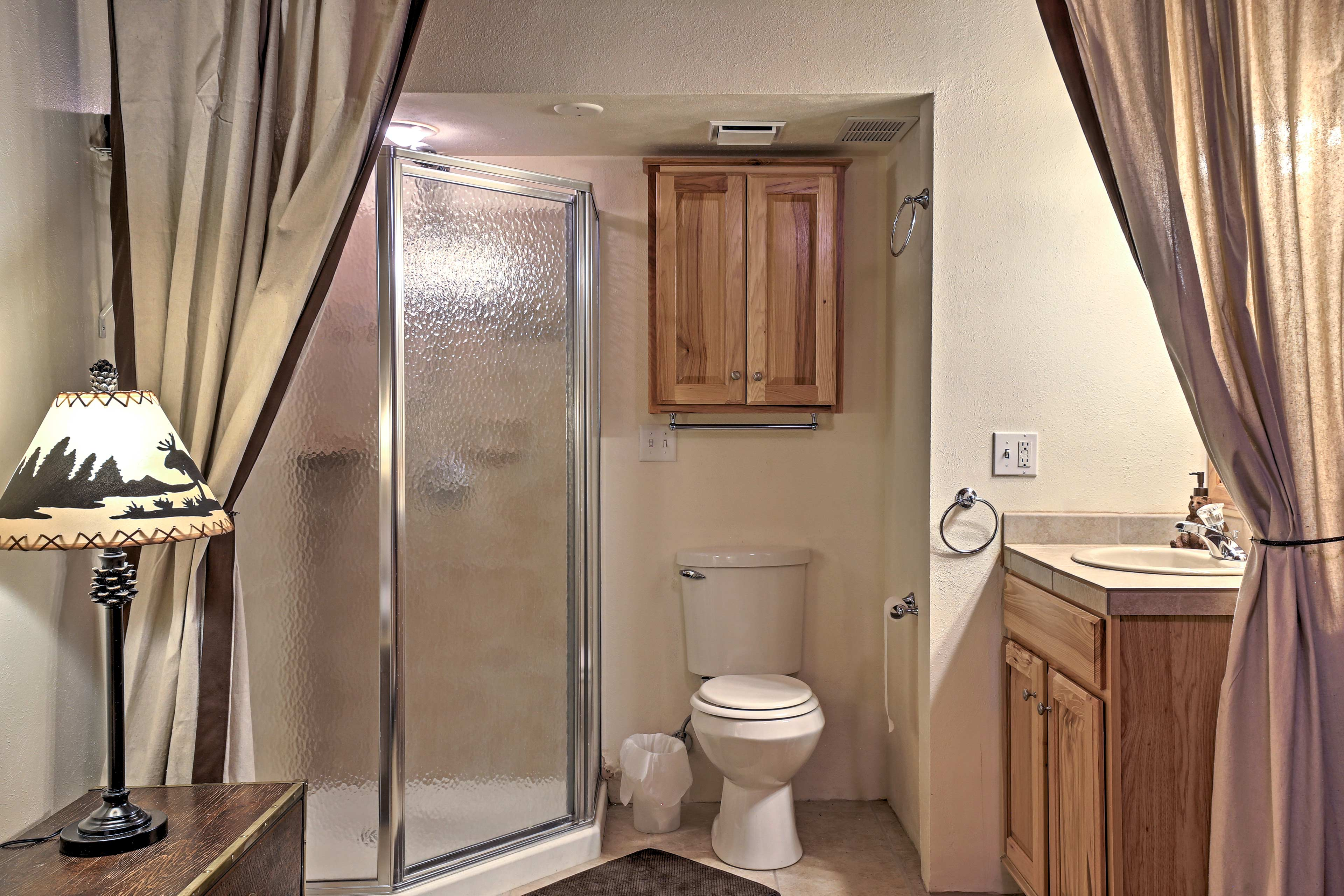 Rinse off the trail dust in the en-suite bathroom.