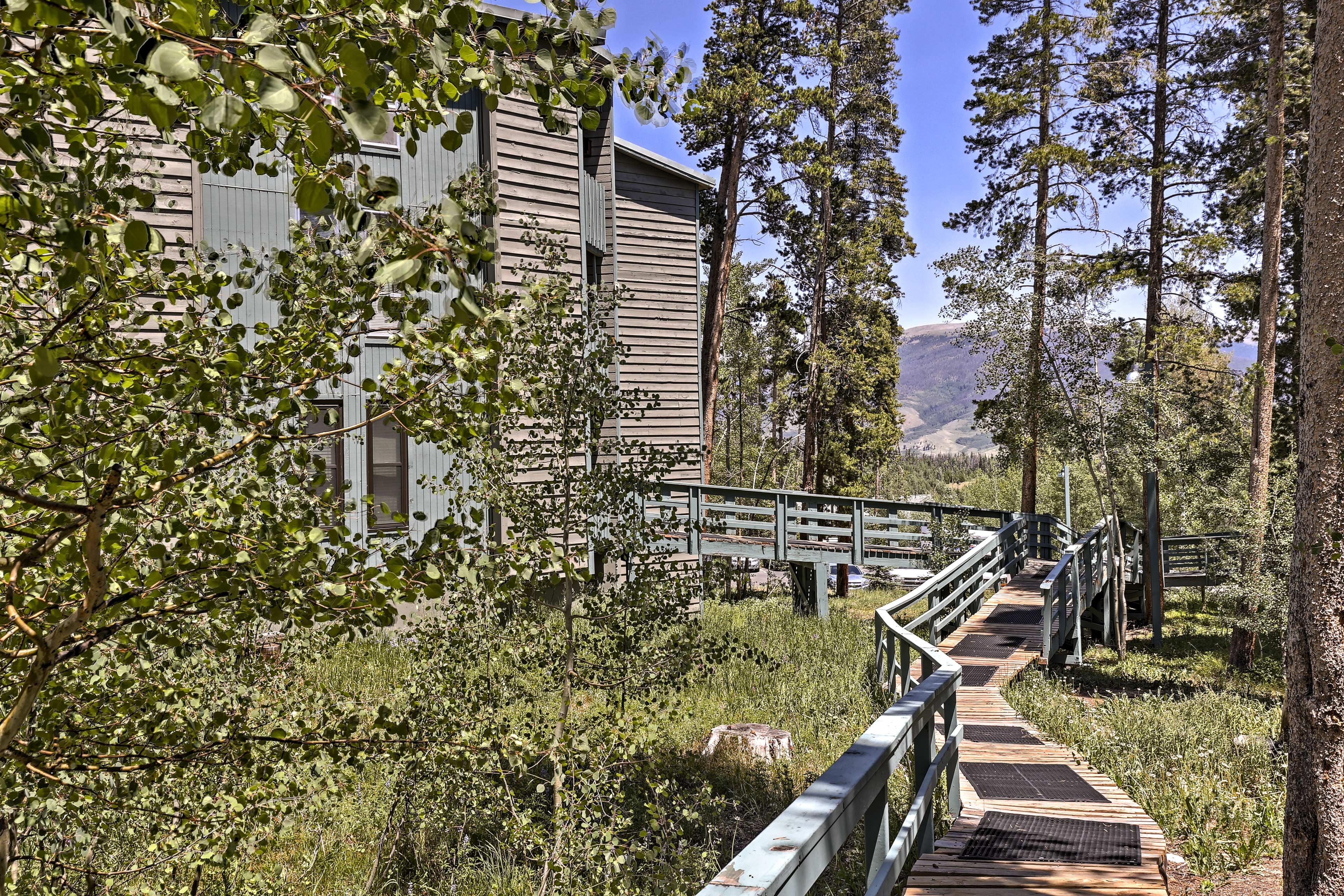 Take a walk around the foliage-filled complex.