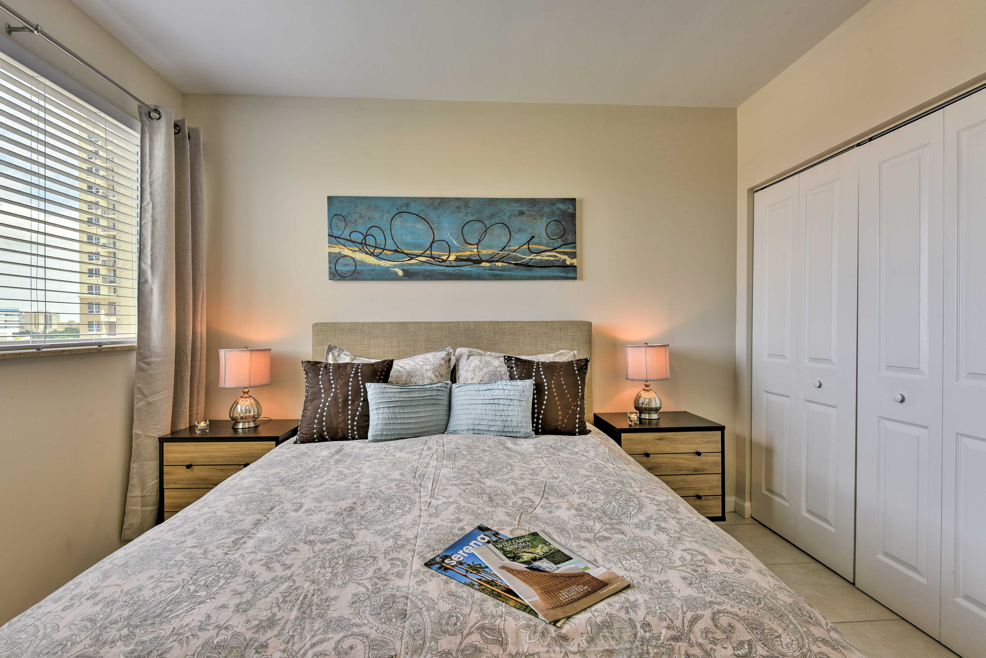 Fall back on the queen bed for a quiet night's sleep.